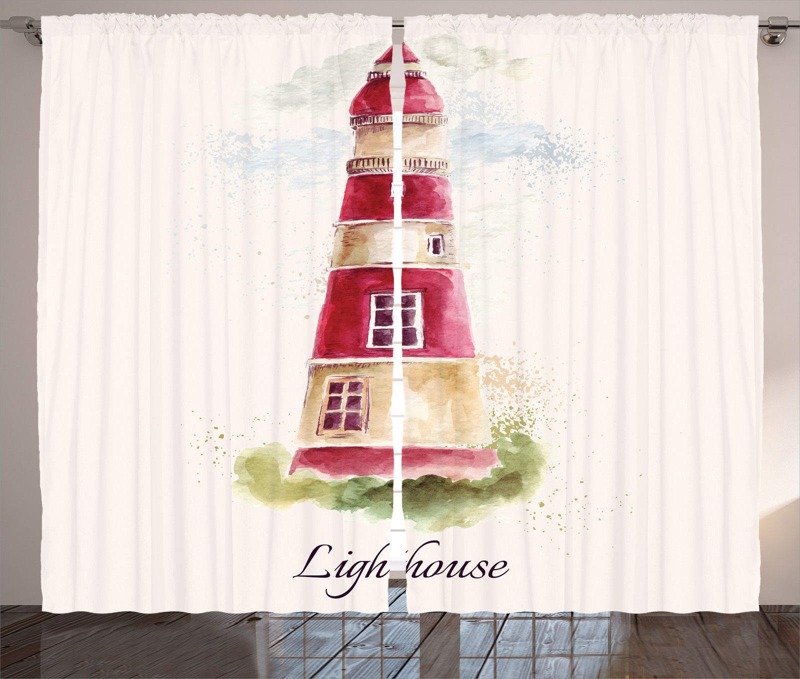 Vintage Nautical Bedding: Watercolor Artsy Lighthouse Print Vintage Nautical Decor