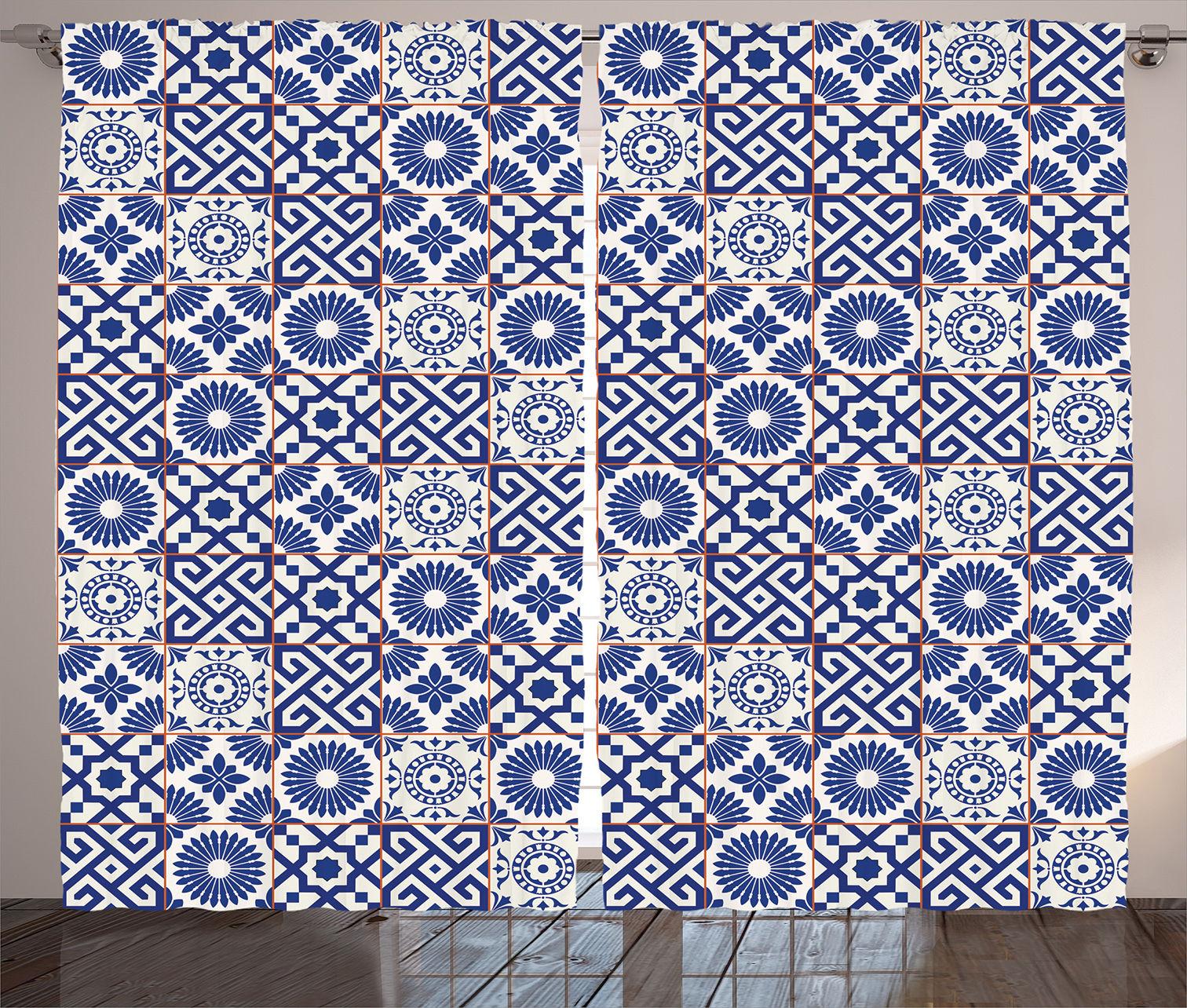 Moroccan Mosaic Tiles Pattern Folk Art Style Modern Print Curtain 2 Panels Set