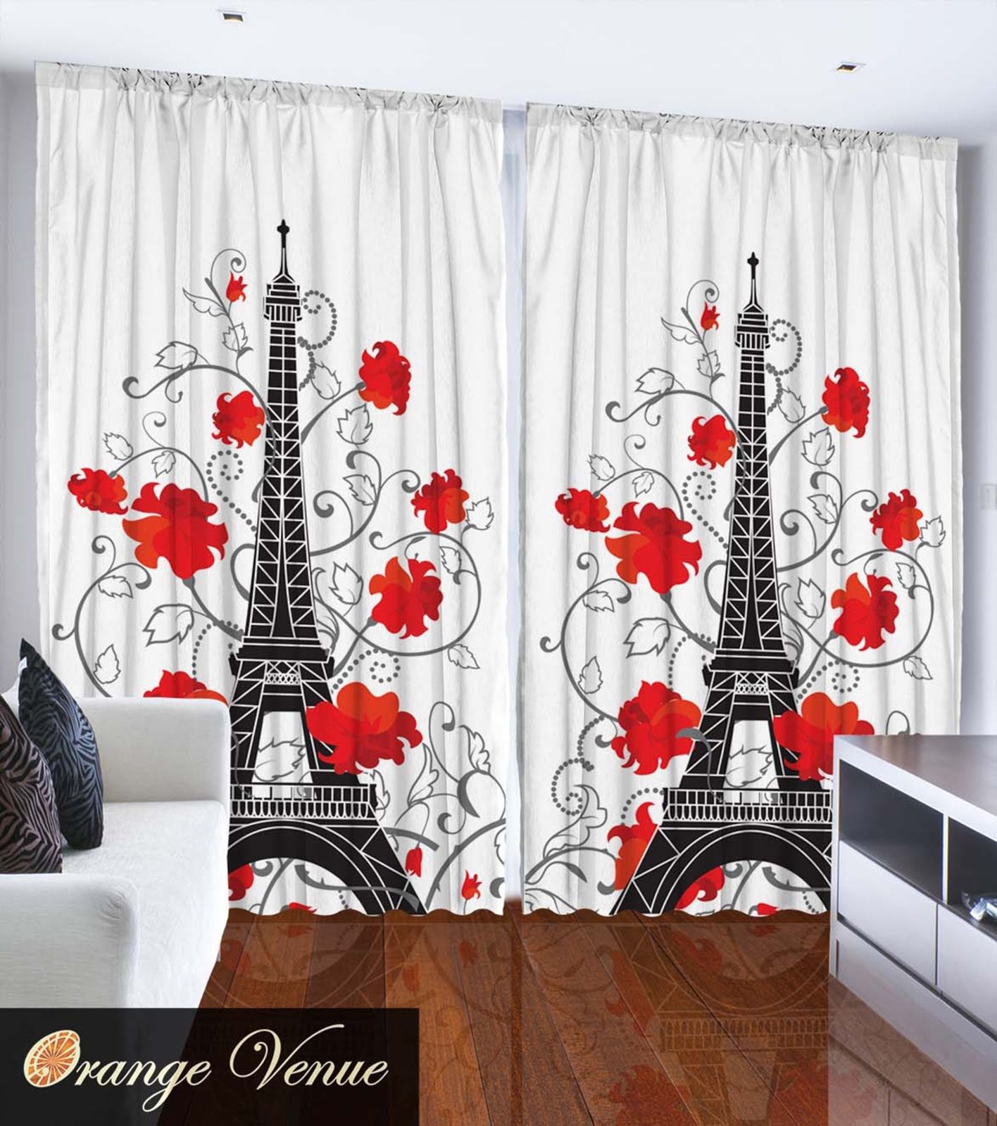 Eiffel Tower Paris City Decor Bedroom Accessories French Style Curtain 2 Pane