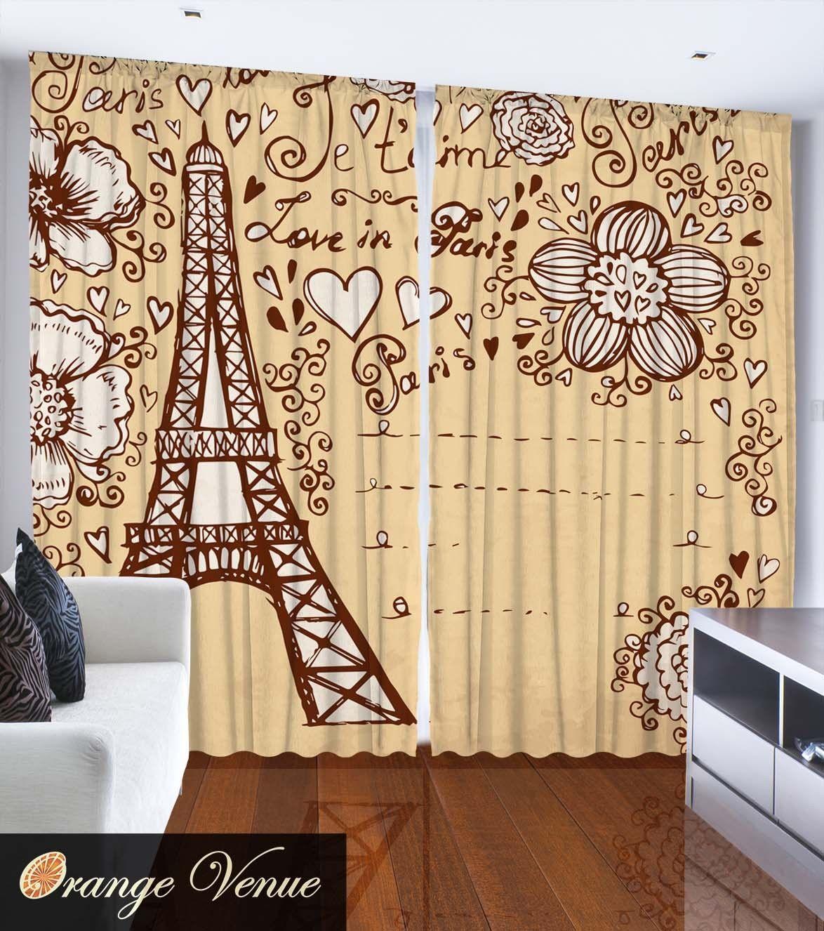Eiffel Tower Paris Decor Cartoon Beige Living Room
