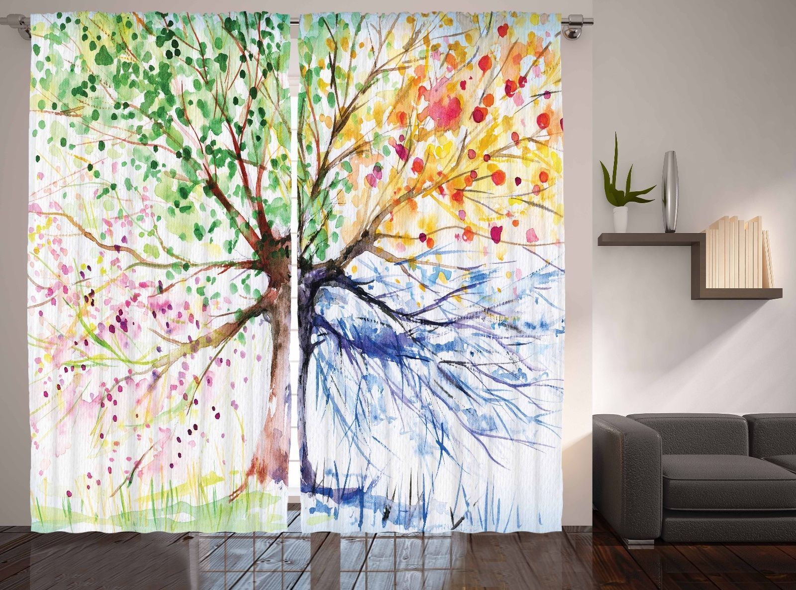 Abstract Art Watercolor Tree Four Seasons Spring Living