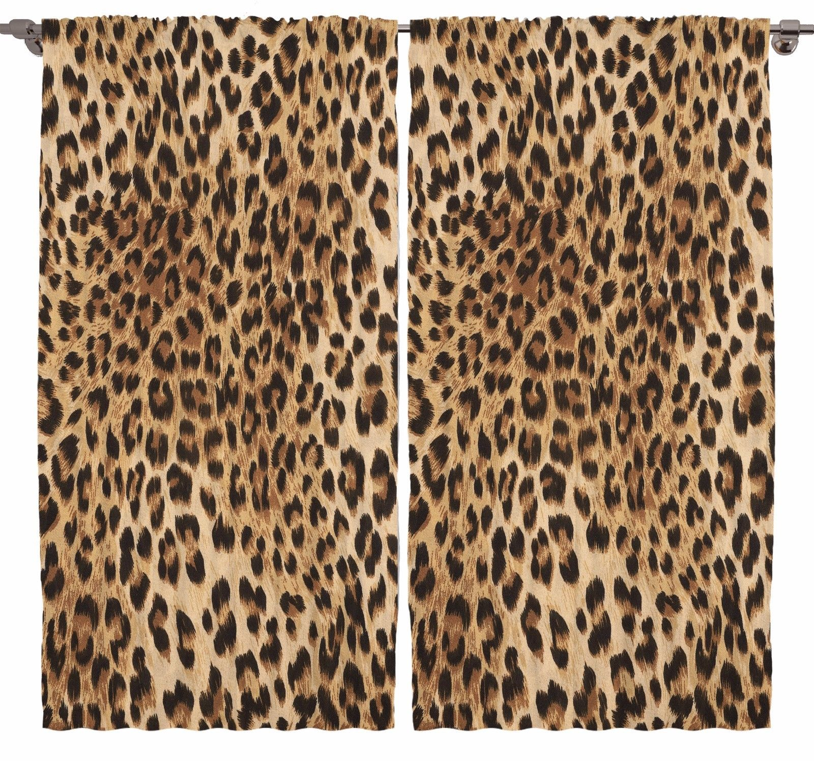 Leopard Print Living Room Curtains