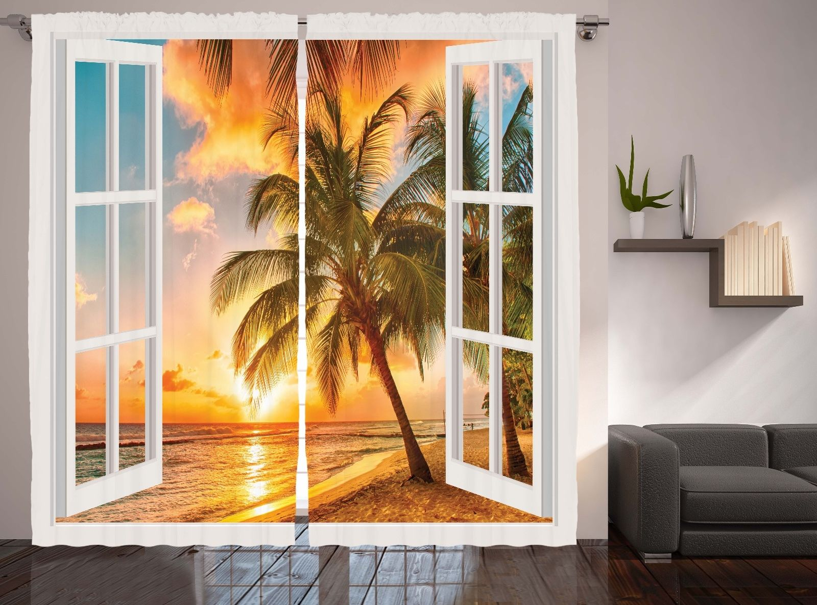 5 Panel Window : Window view decor collection palm trees sunset scenery