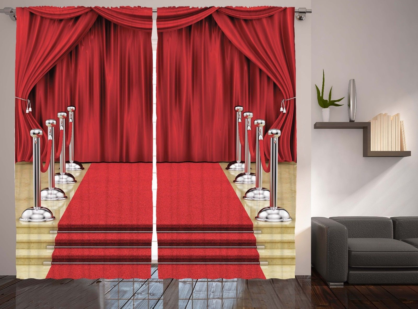 Red carpet image drapes hall theatre stage decor elegant for Auditorium stage decoration