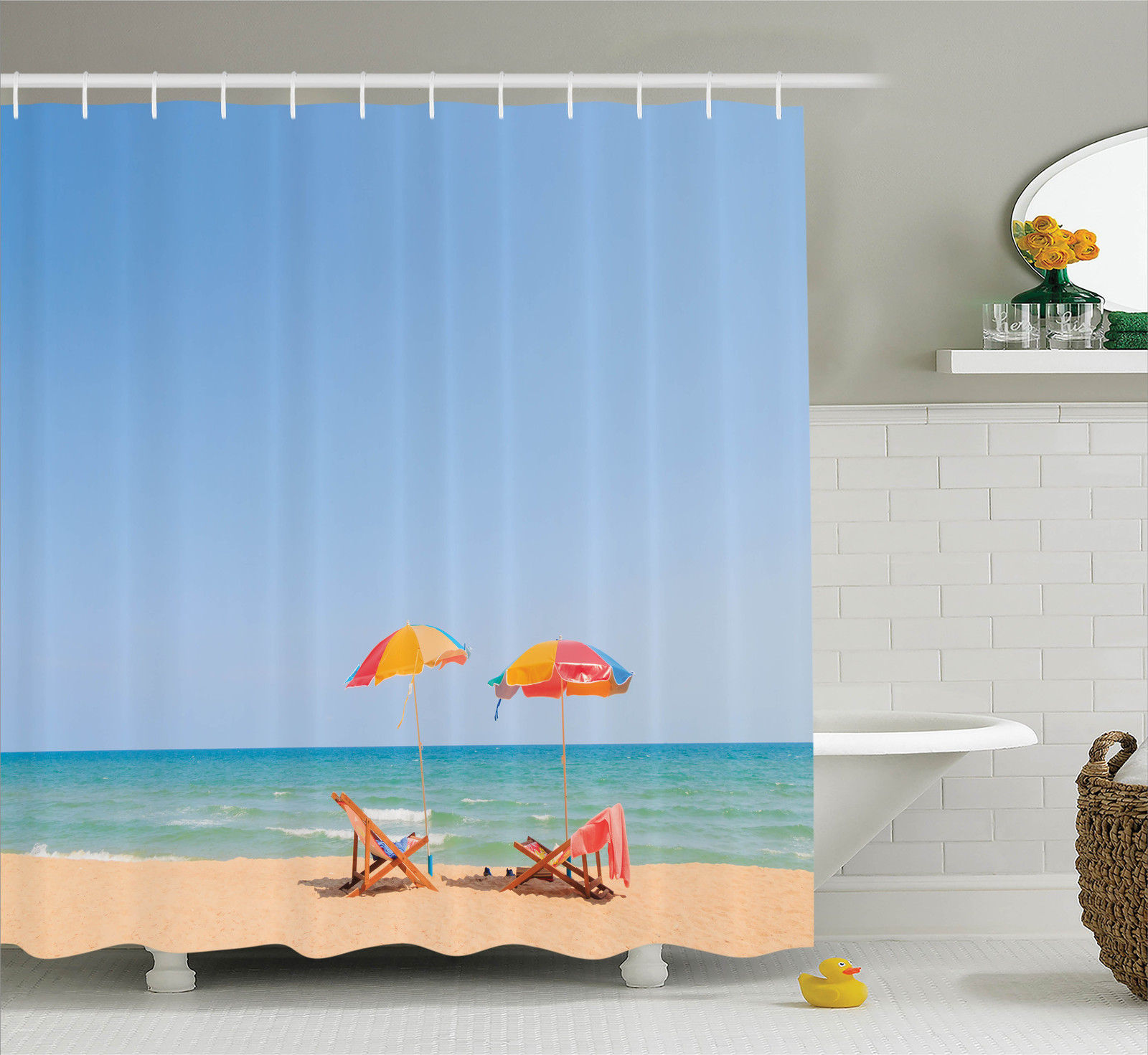 Beach Chair Shower Curtain - Image is loading beach chair umbrella leisure relax meditation decor photo