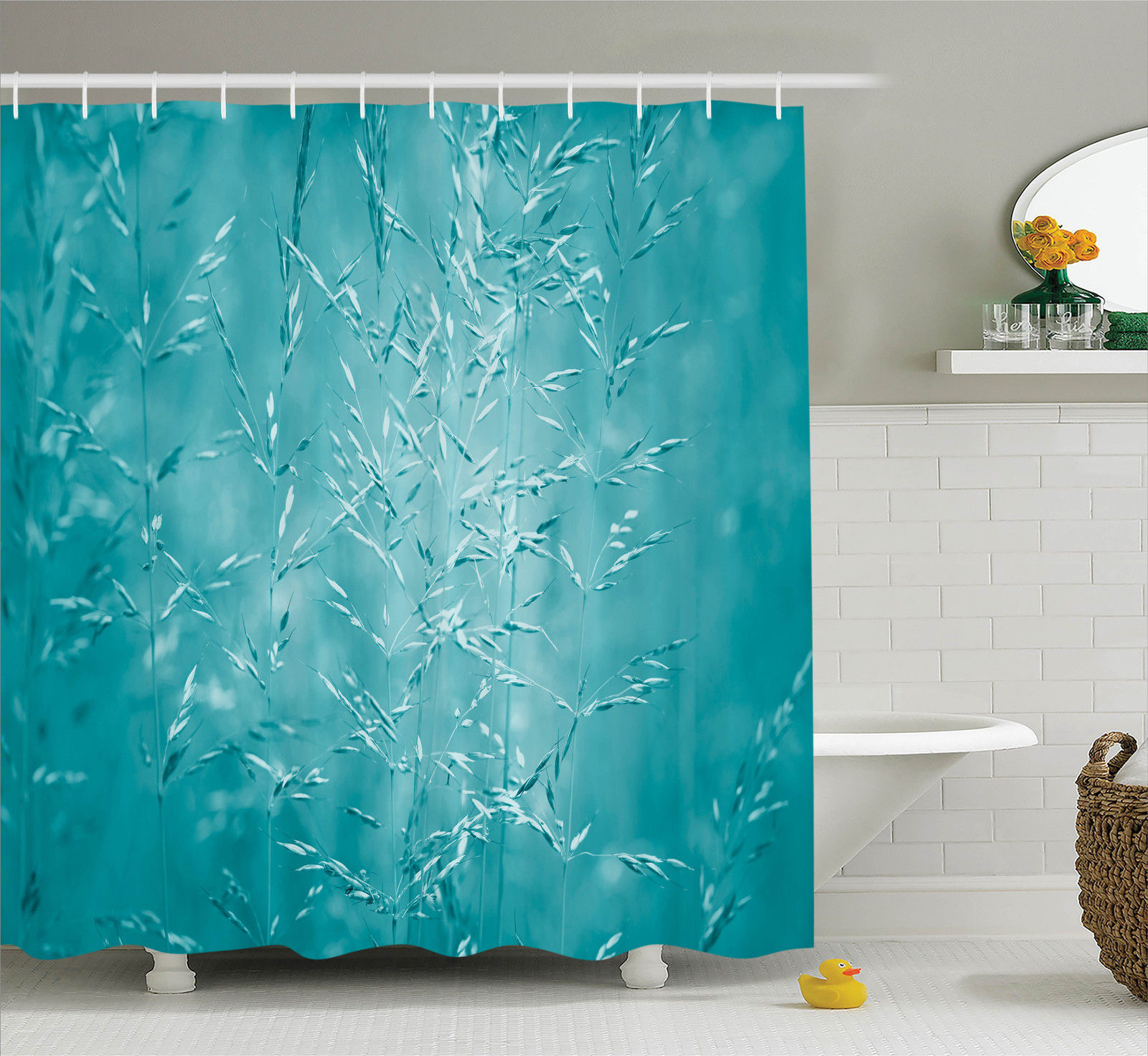 Meadow Grass With Blue Filtre Rural Plants Nature Picture Shower Curtain Set Ebay