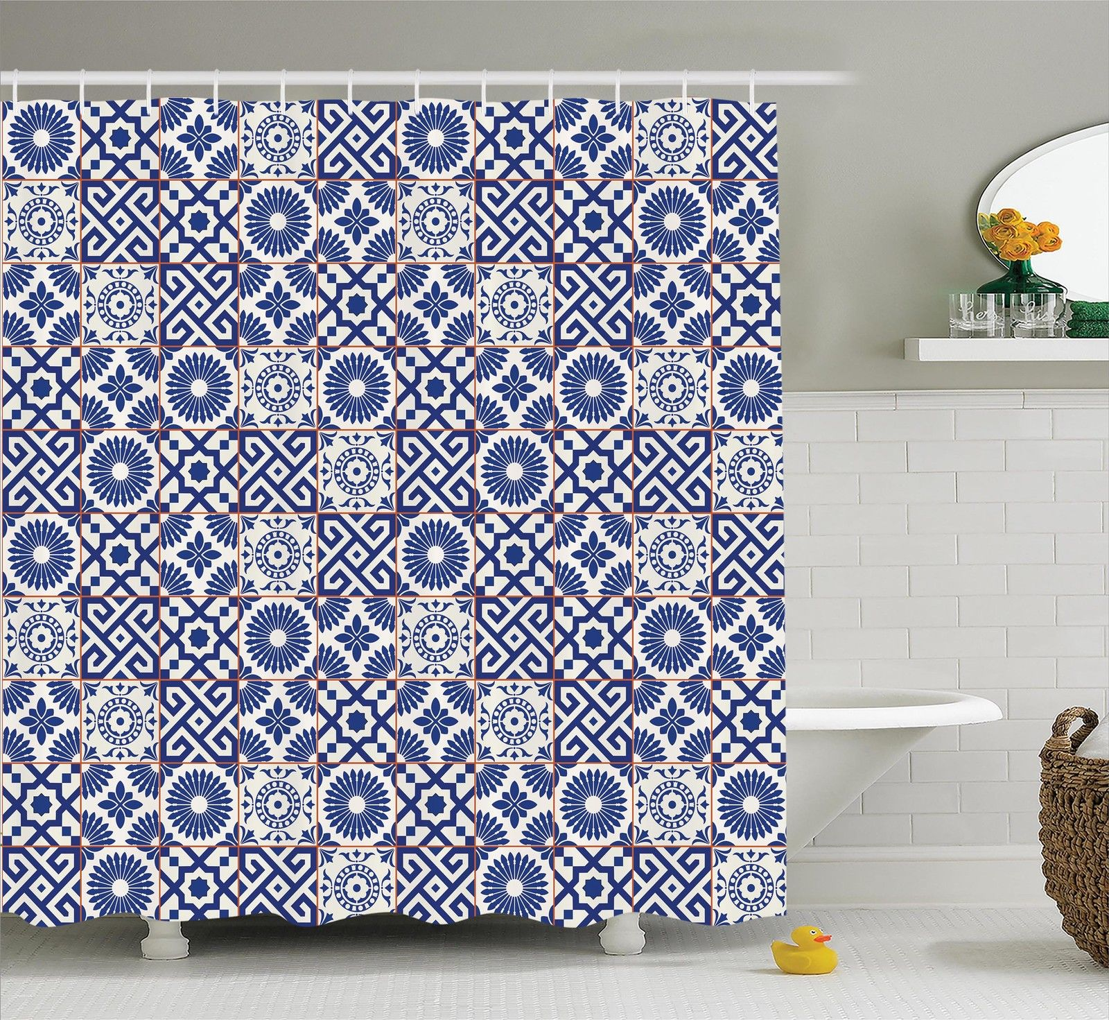 Moroccan Mosaic Tiles Pattern Folk Art Style Modern Print Shower Curtain Set Ebay