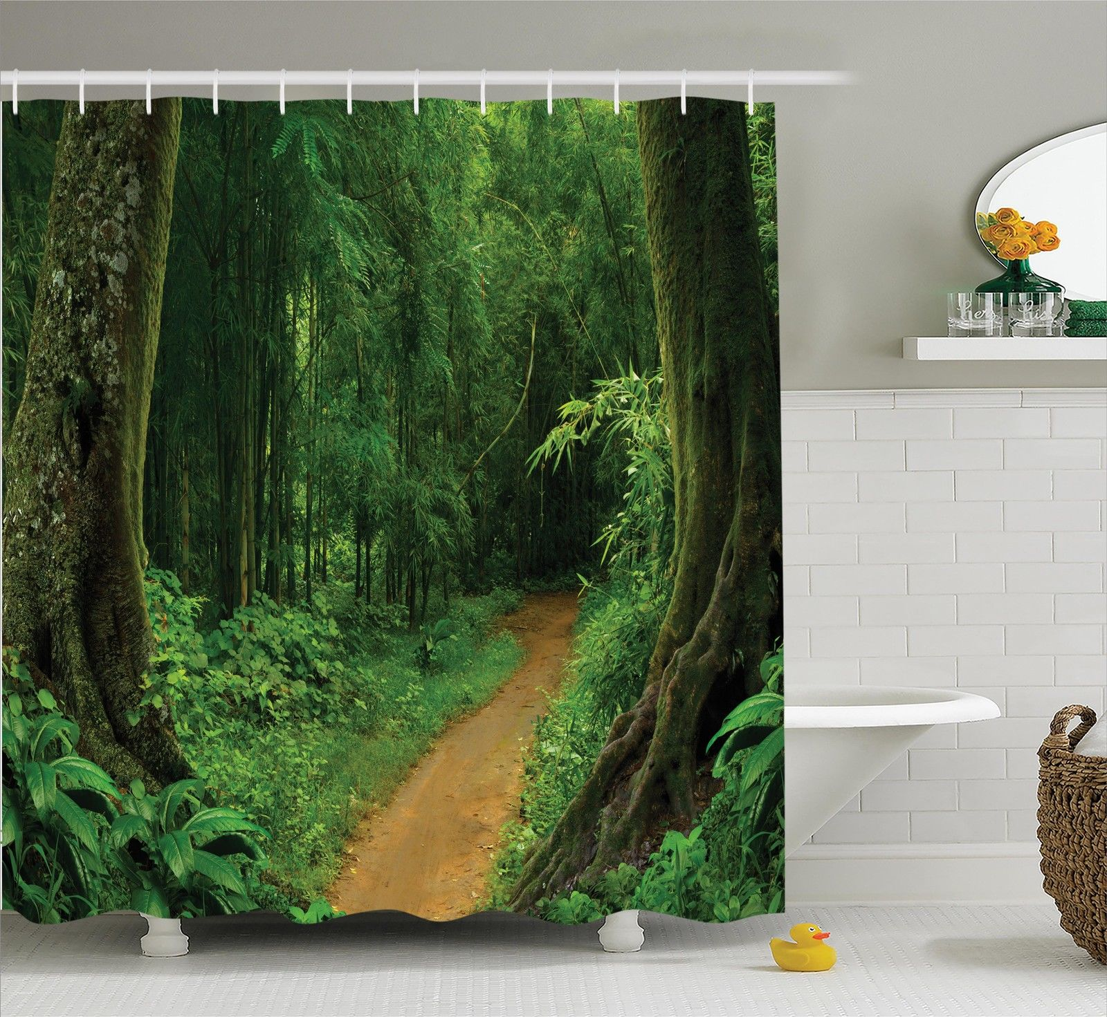 Jungle shower curtain escaped to nature themed path green Nature inspired shower curtains