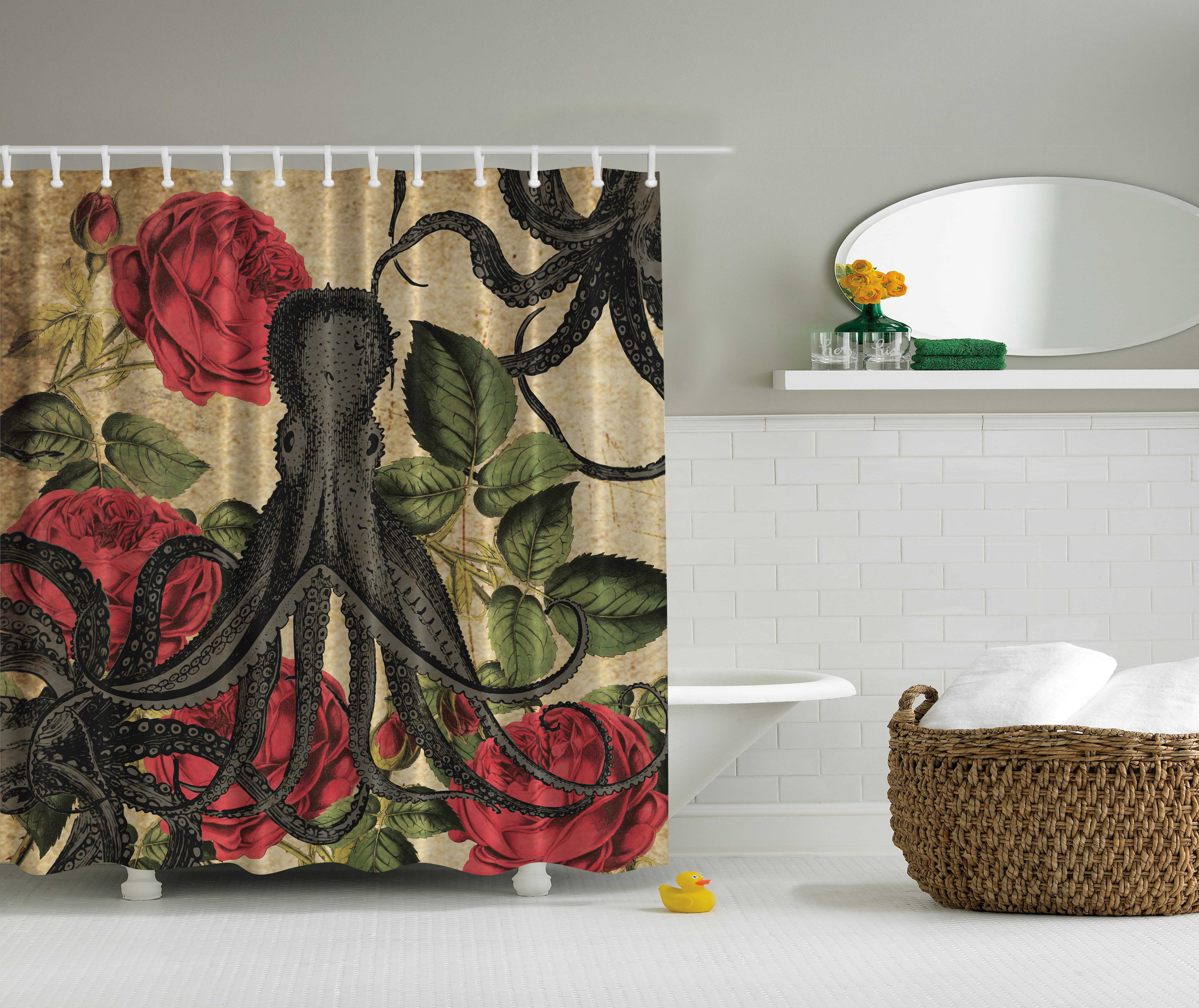 Kraken shower curtain - Image Is Loading Nautical Sea Monster Octopus In Ocean With Roses