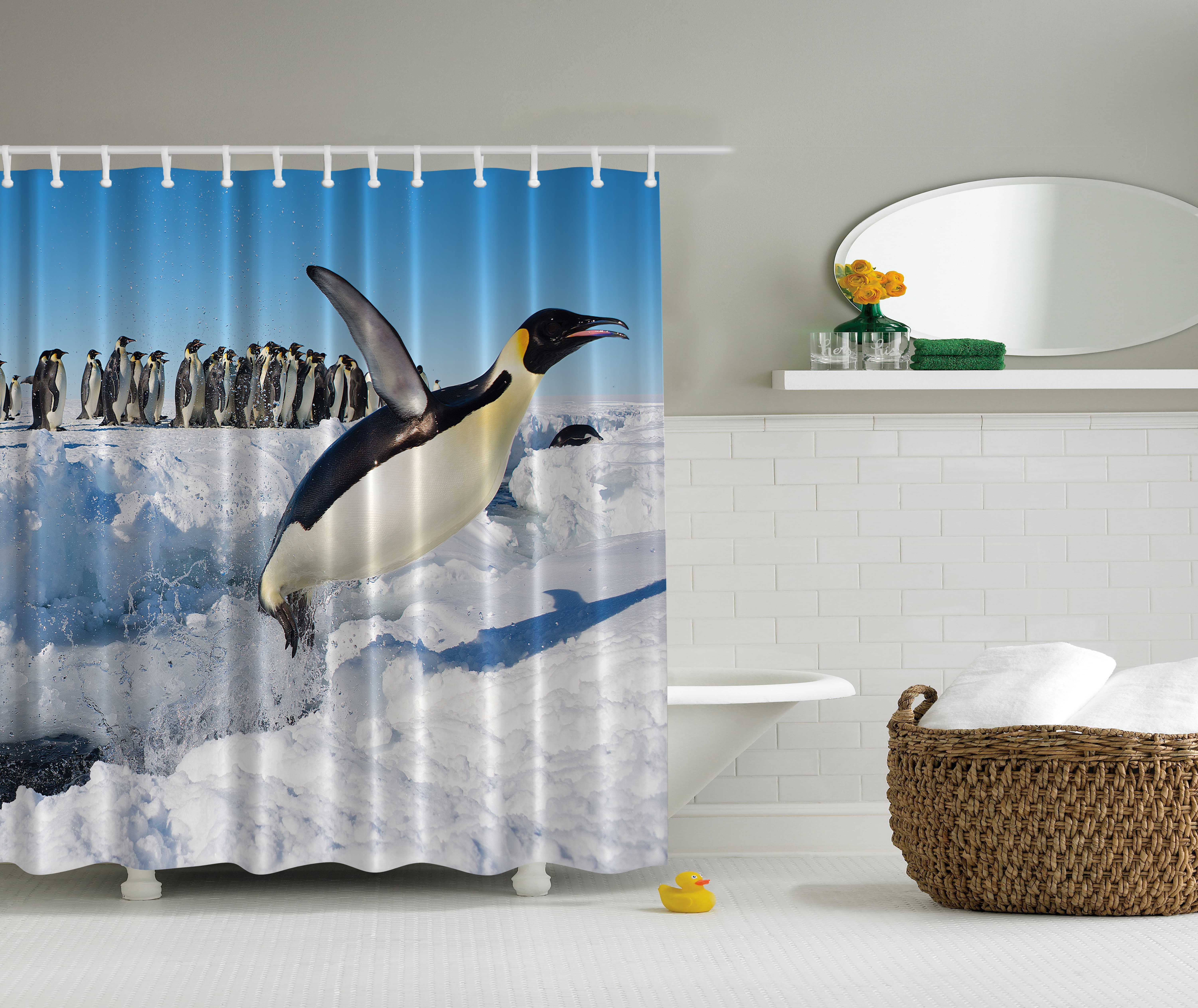North wildlife swimming fly dancing penguin family bird Swimming pool shower curtain