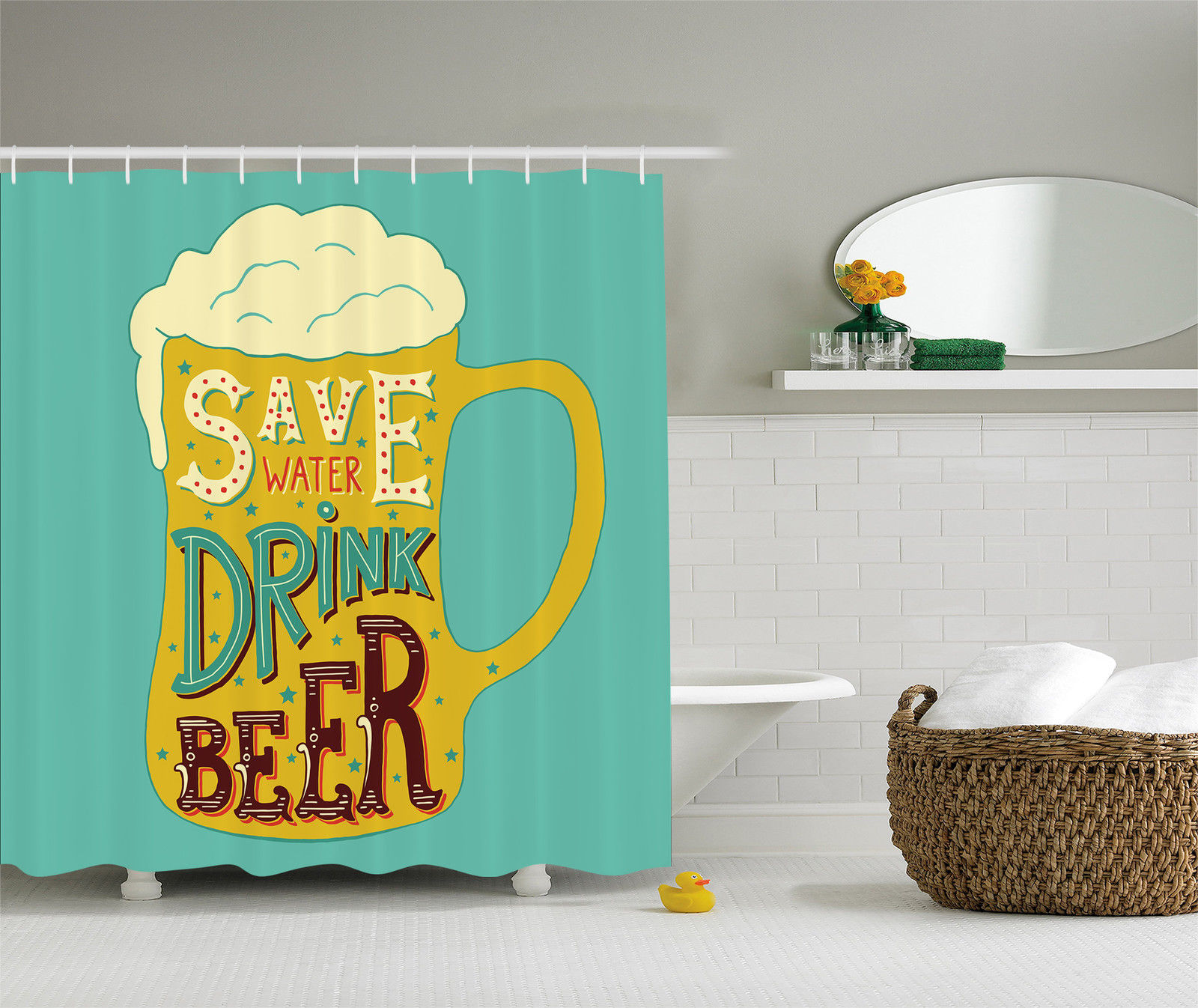 Funny quotes save water drink beer digital prints shower for Shower curtain savers