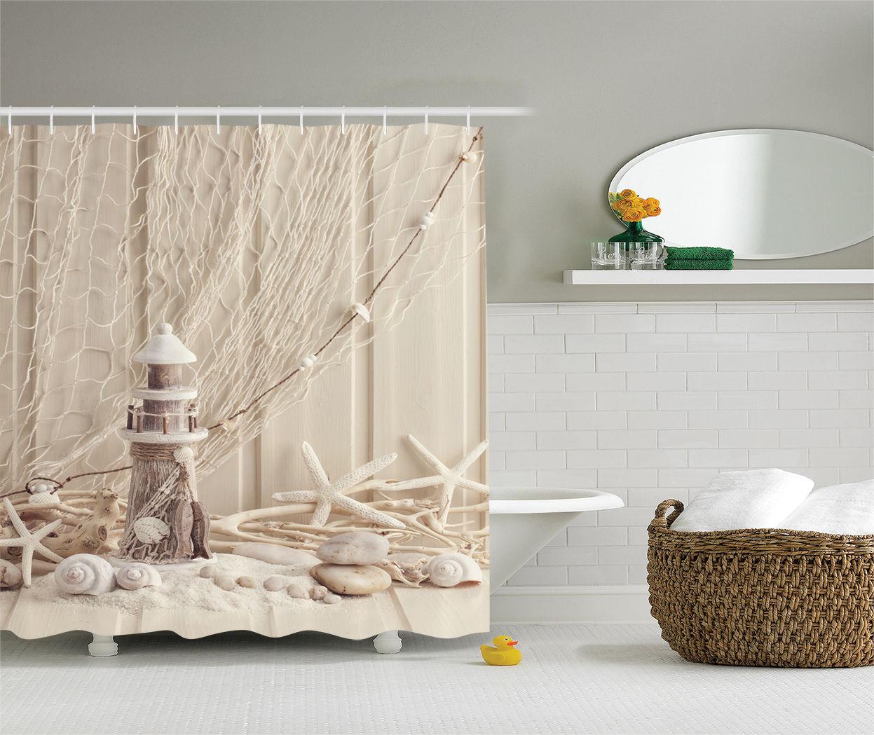 Underwater Shower Curtain Marine Fishing Net Print for Bathroom