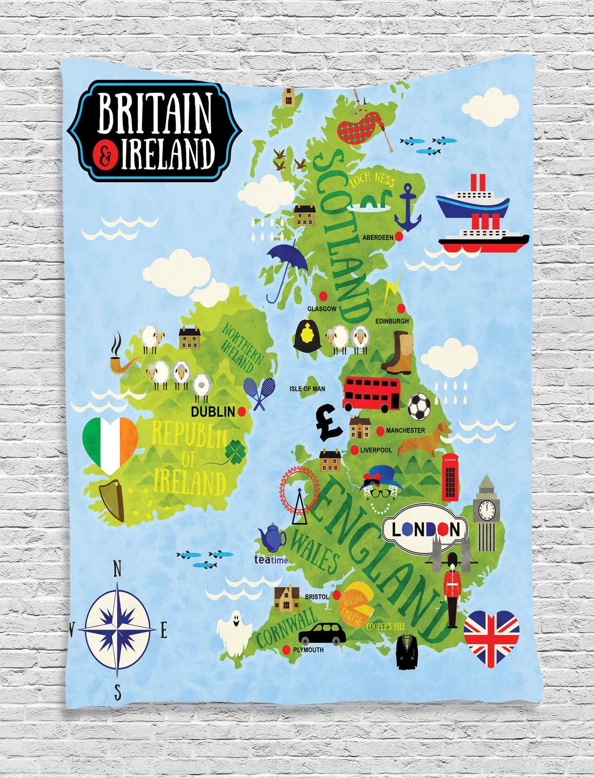 Cartoon Map Britain Ireland Children Soldier Landmarks UK ...