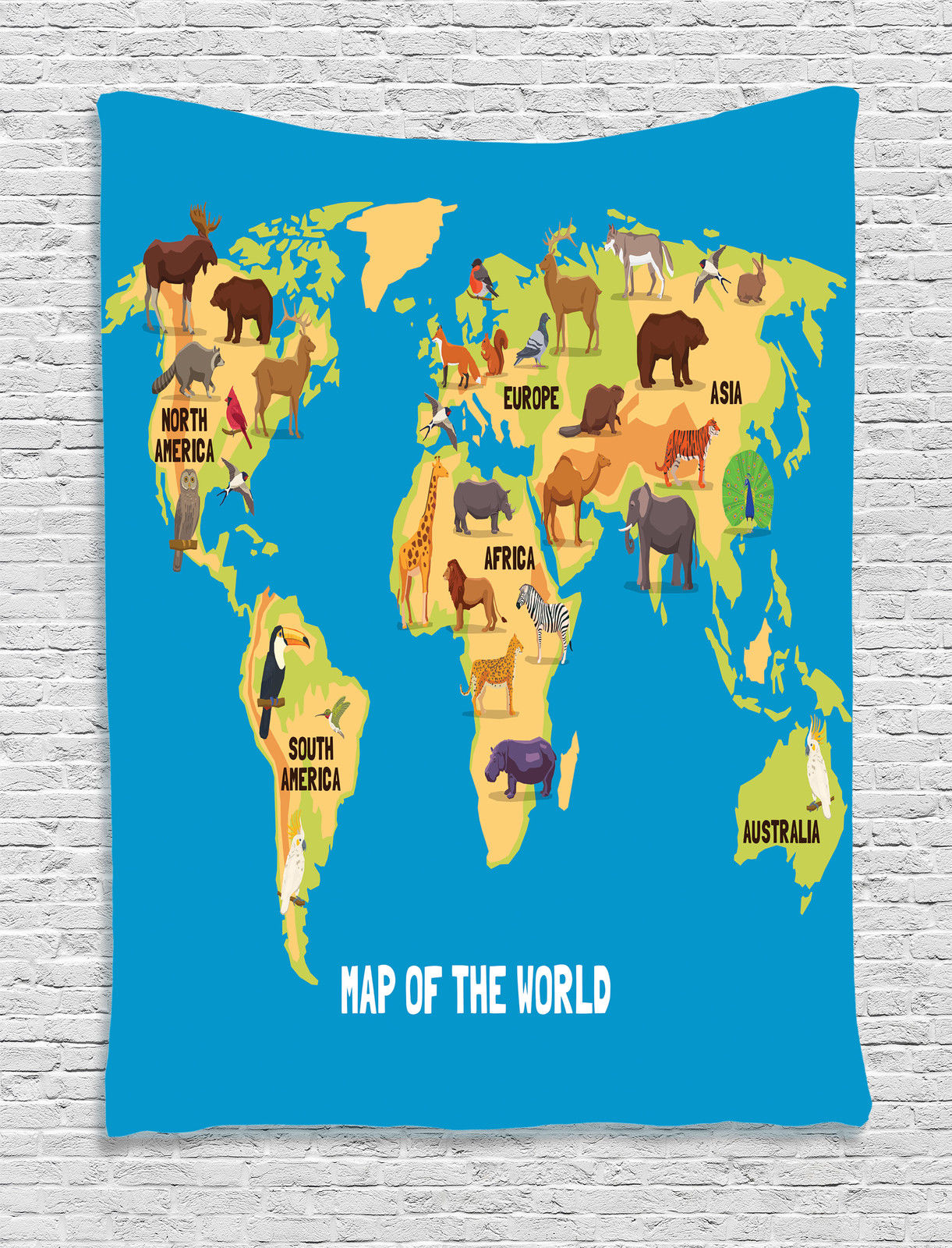 World Map Tapestry Wall Hanging map of world with animal wildlife cartoon continents decor wall