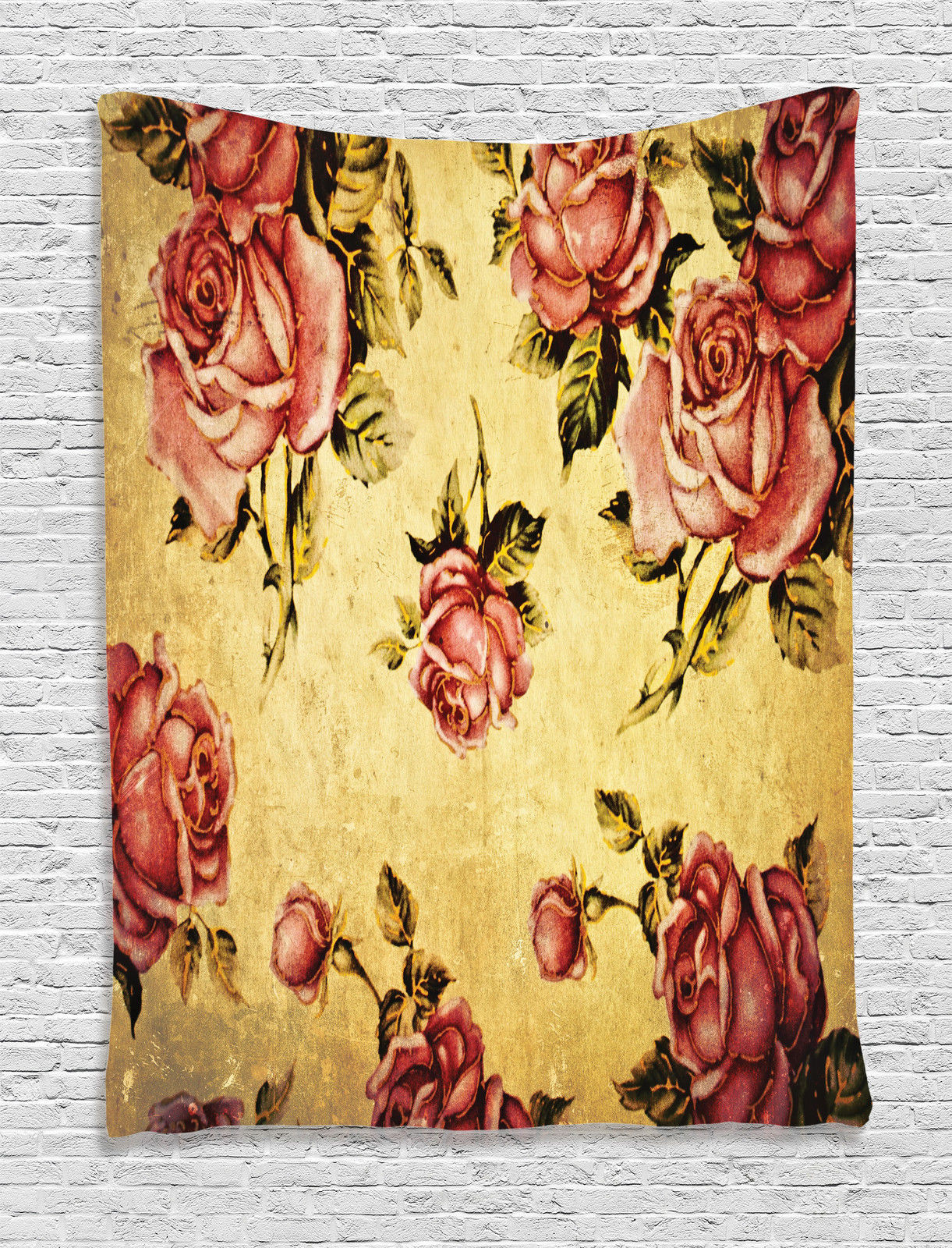 Victorian style rose pattern vintage art floral home decor for Victorian wall decor
