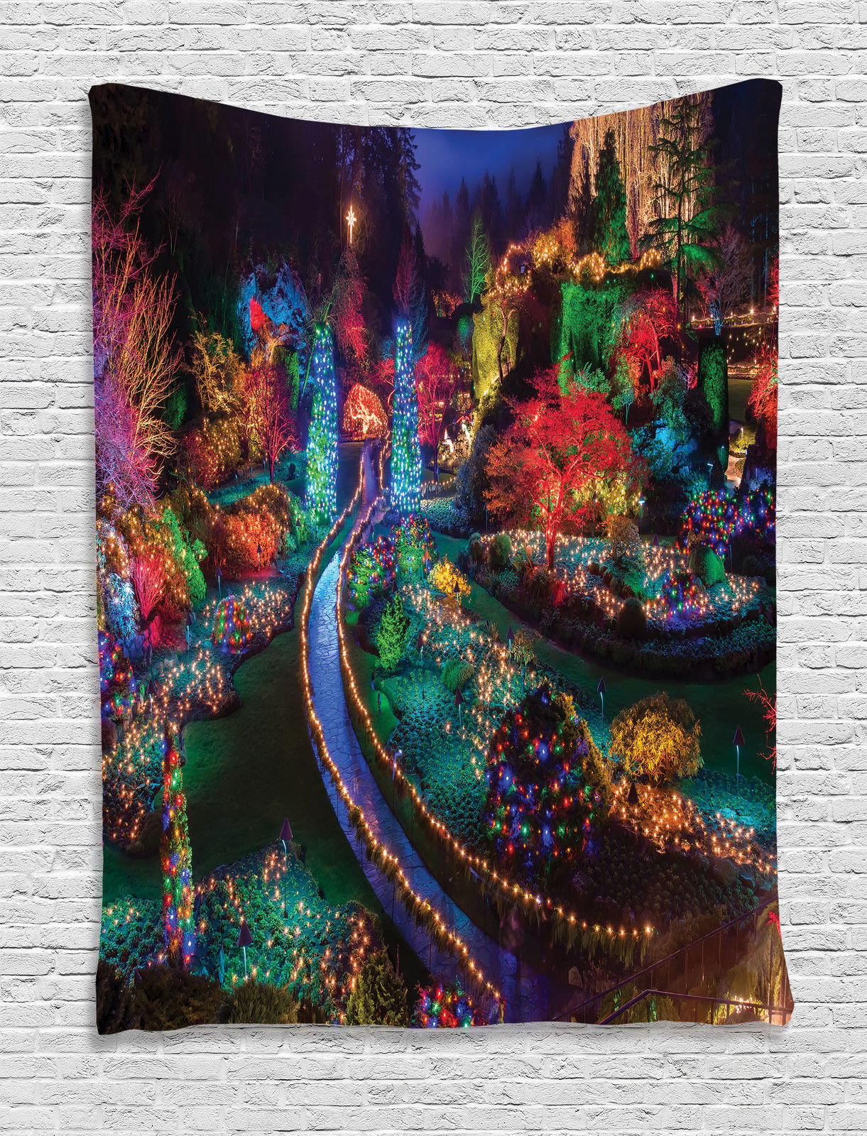 Outdoor Wall Hanging Christmas Lights : Christmas Lights in Garden Decoration Season Nature Print Wall Hanging Tapestry eBay