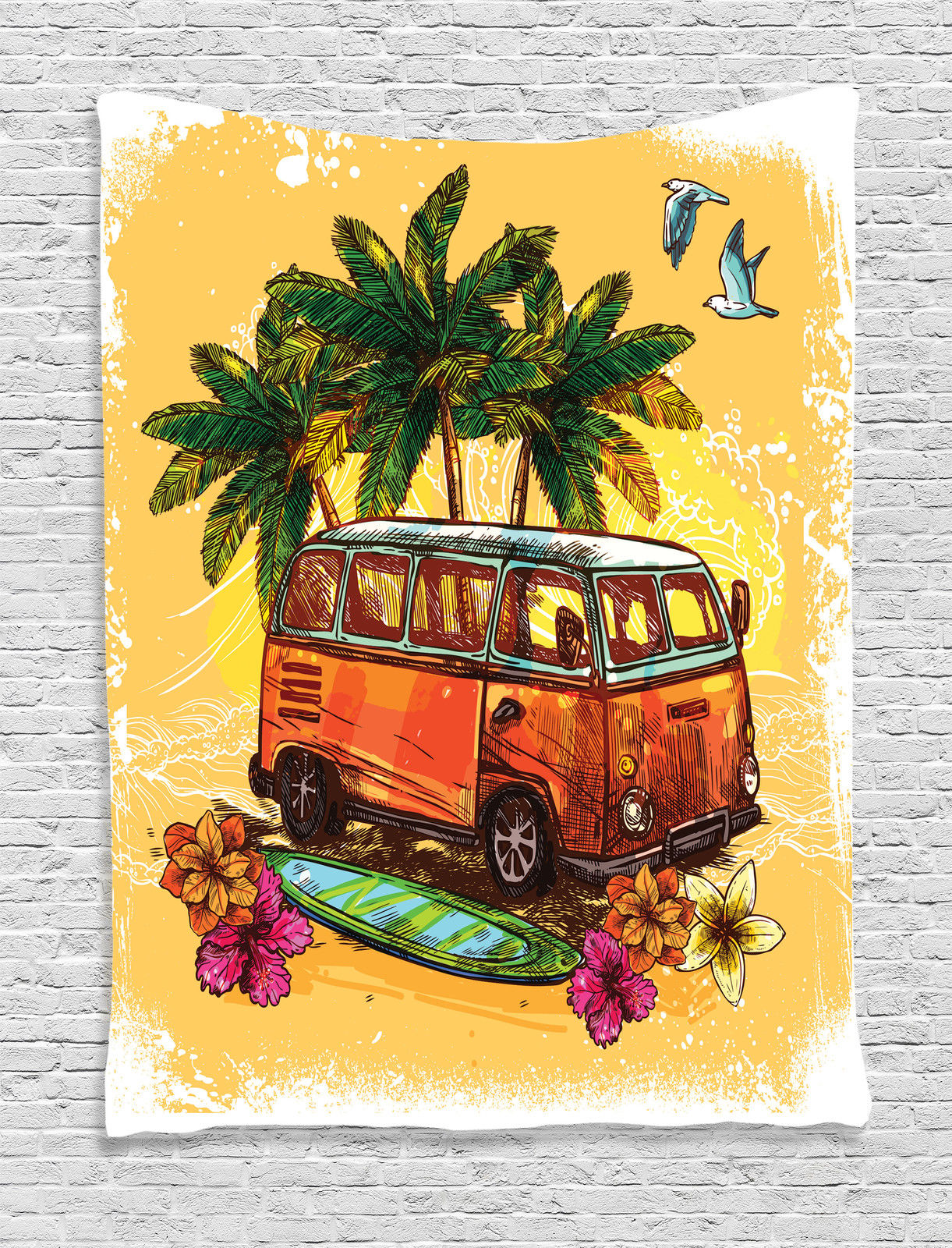 Hippie Van and Surfboard Vintage Retro Hawaiian Summer Art ...