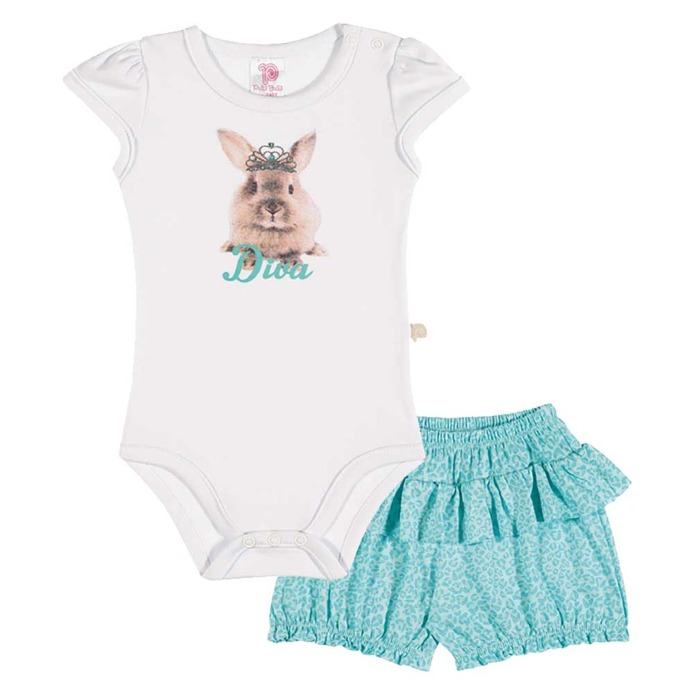 Baby Girl Outfit Bodysuit and Shorts Set Pulla Bulla Sizes