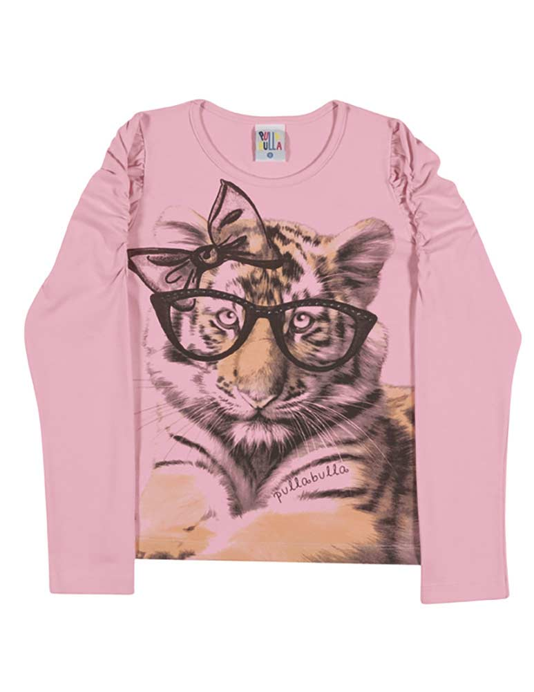 Girls long sleeve t shirt kitten graphic tee kids pulla for Graphic t shirts for kids
