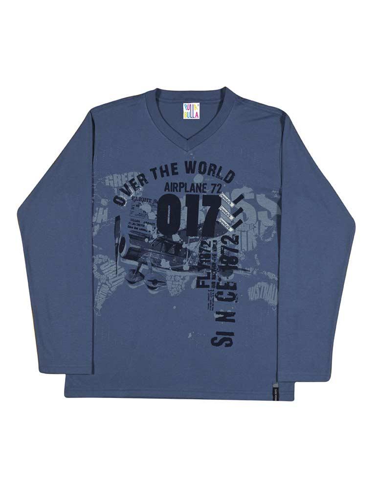 Tween Boy Long Sleeve Shirt V Neck Graphic Tee Pulla Bulla