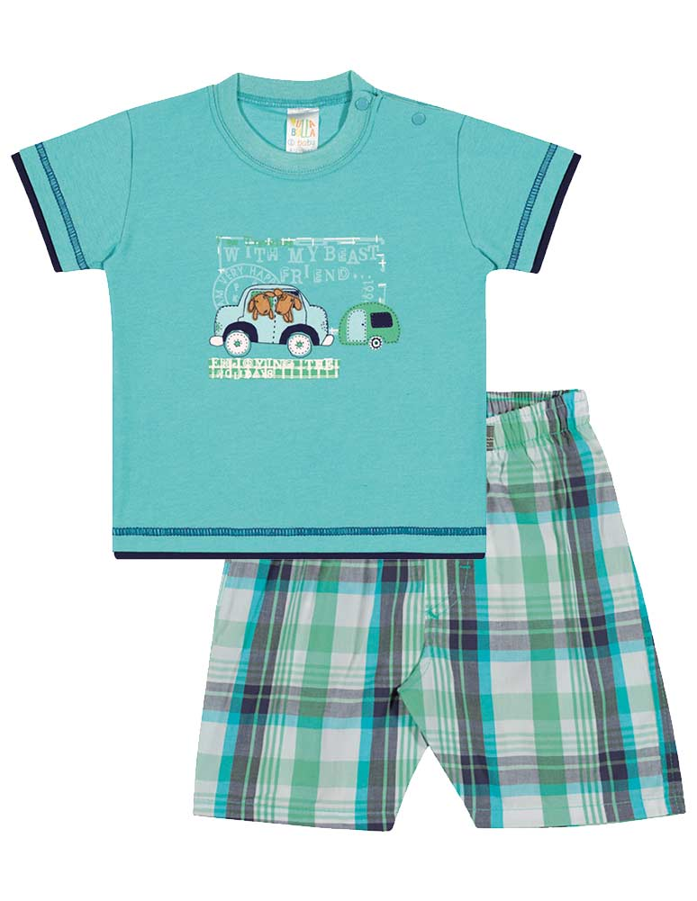 Baby Boy Outfit Infant Shirt and Plaid Shorts Set Pulla ...