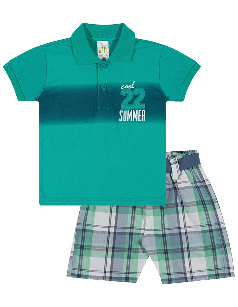 Baby boy outfit infant polo shirt and plaid shorts set for Toddler boys polo shirts