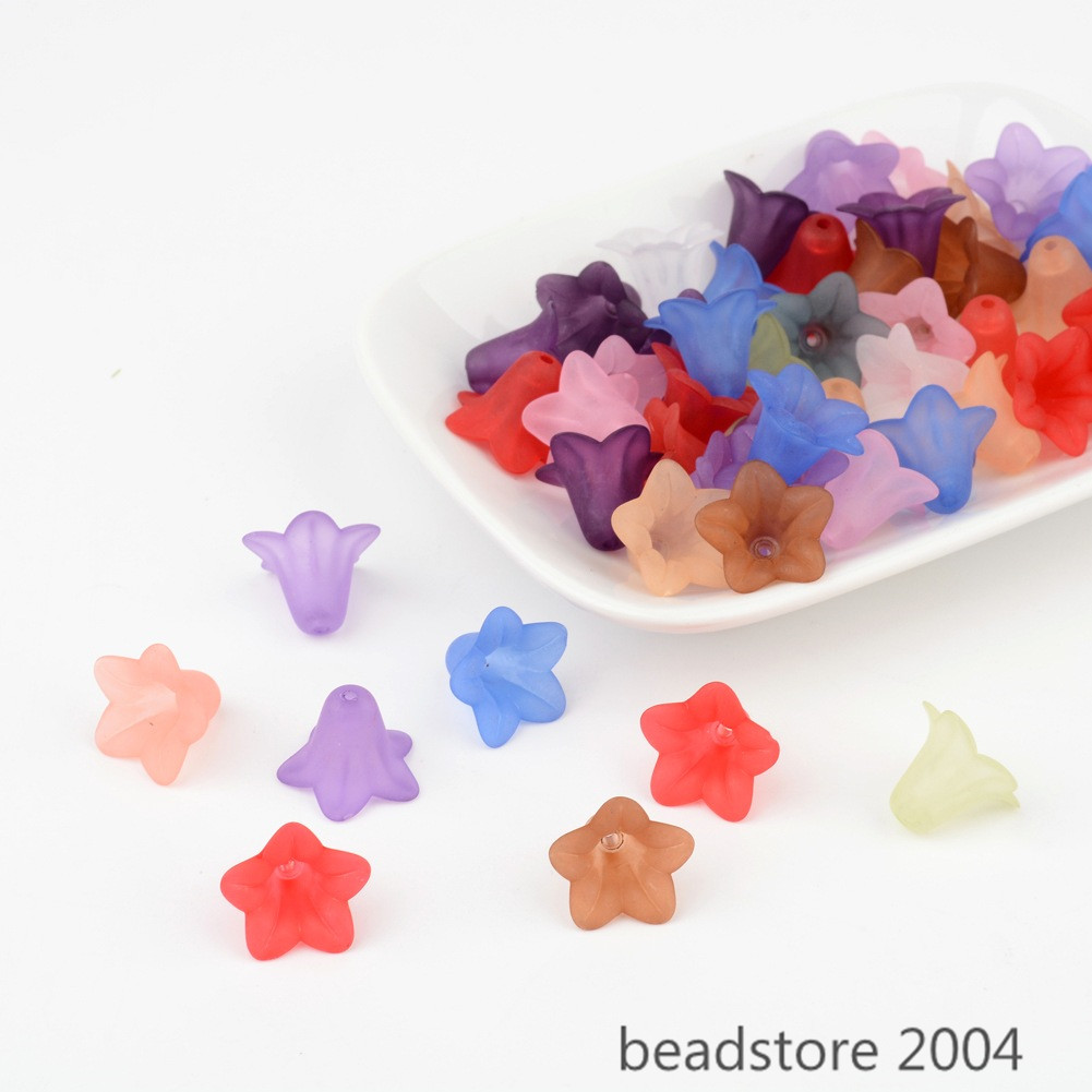 50pcs Frosted Transparent Acrylic Flower Beads DIY Craft ...