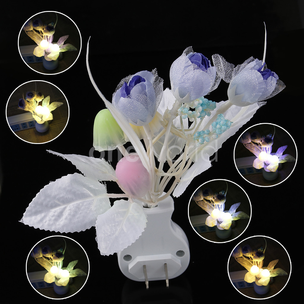 110 220v Tulip Led Night Light Home Decor Blue Dimming Ebay