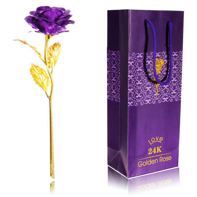New 24k Gold Plated Rose Flower Creative Birthday Valentine S Day