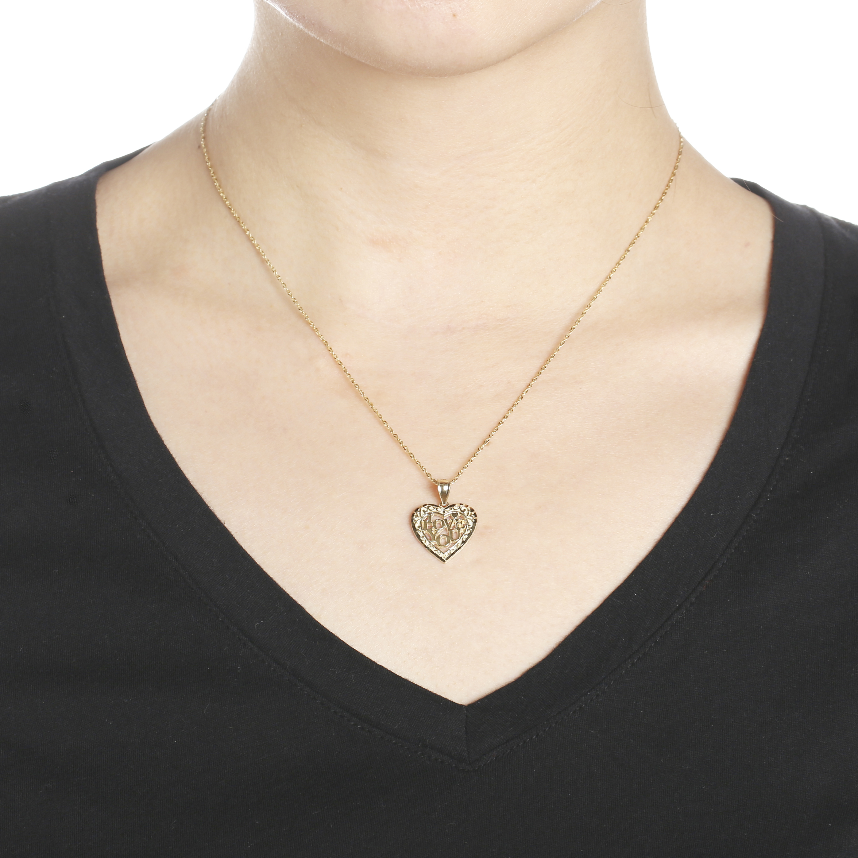 """18/"""" 10k Yellow Gold I Love You Romantic Heart Pendant Necklace"""
