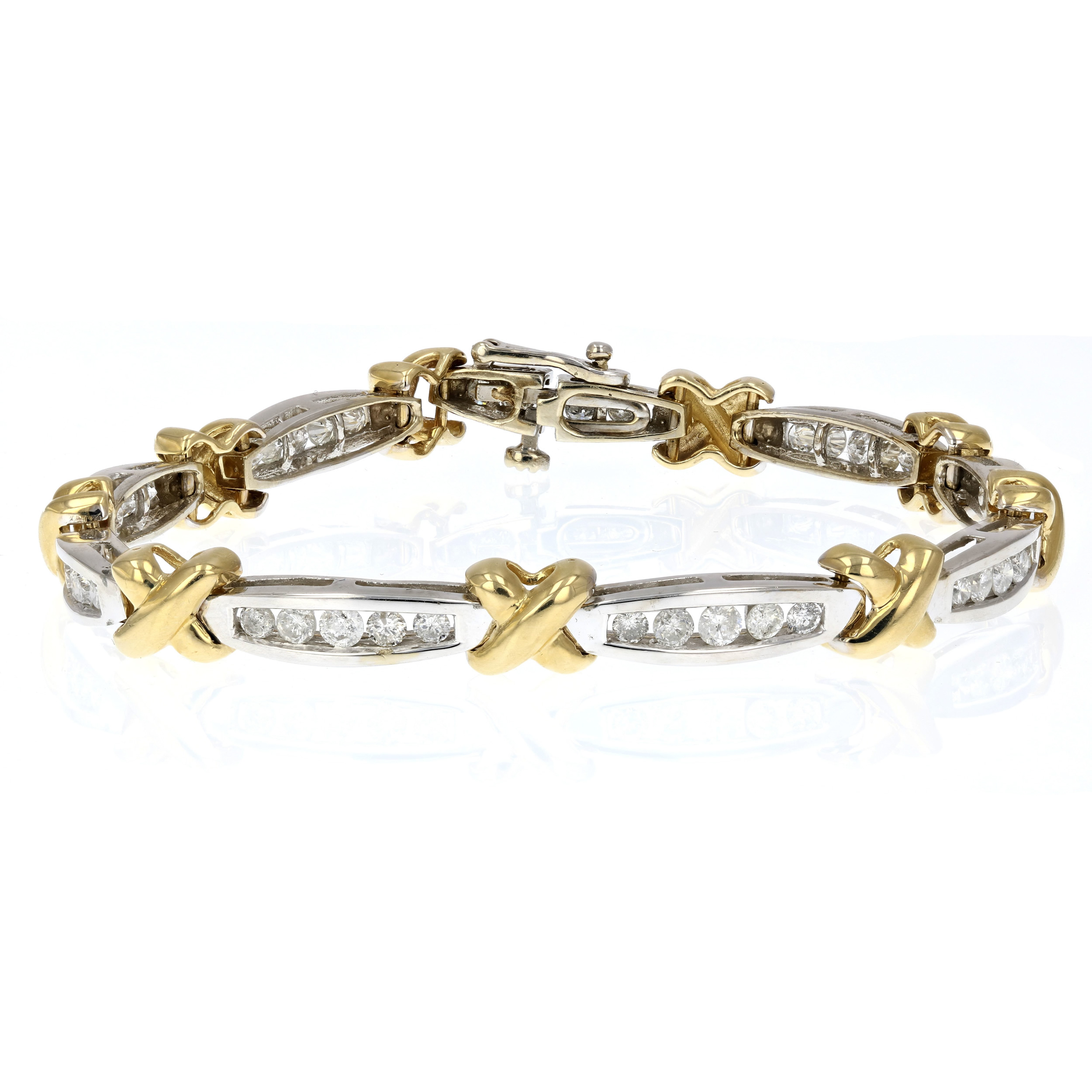 2 ct diamond tennis bracelet in 14k yellow gold ebay. Black Bedroom Furniture Sets. Home Design Ideas
