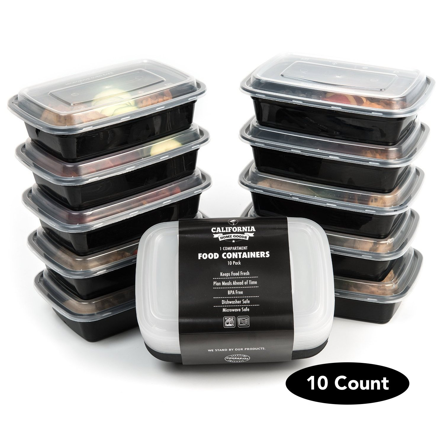 10 meal prep food containers 1 compartment bpa free plastic lunch box with lids 6666964287716 ebay. Black Bedroom Furniture Sets. Home Design Ideas