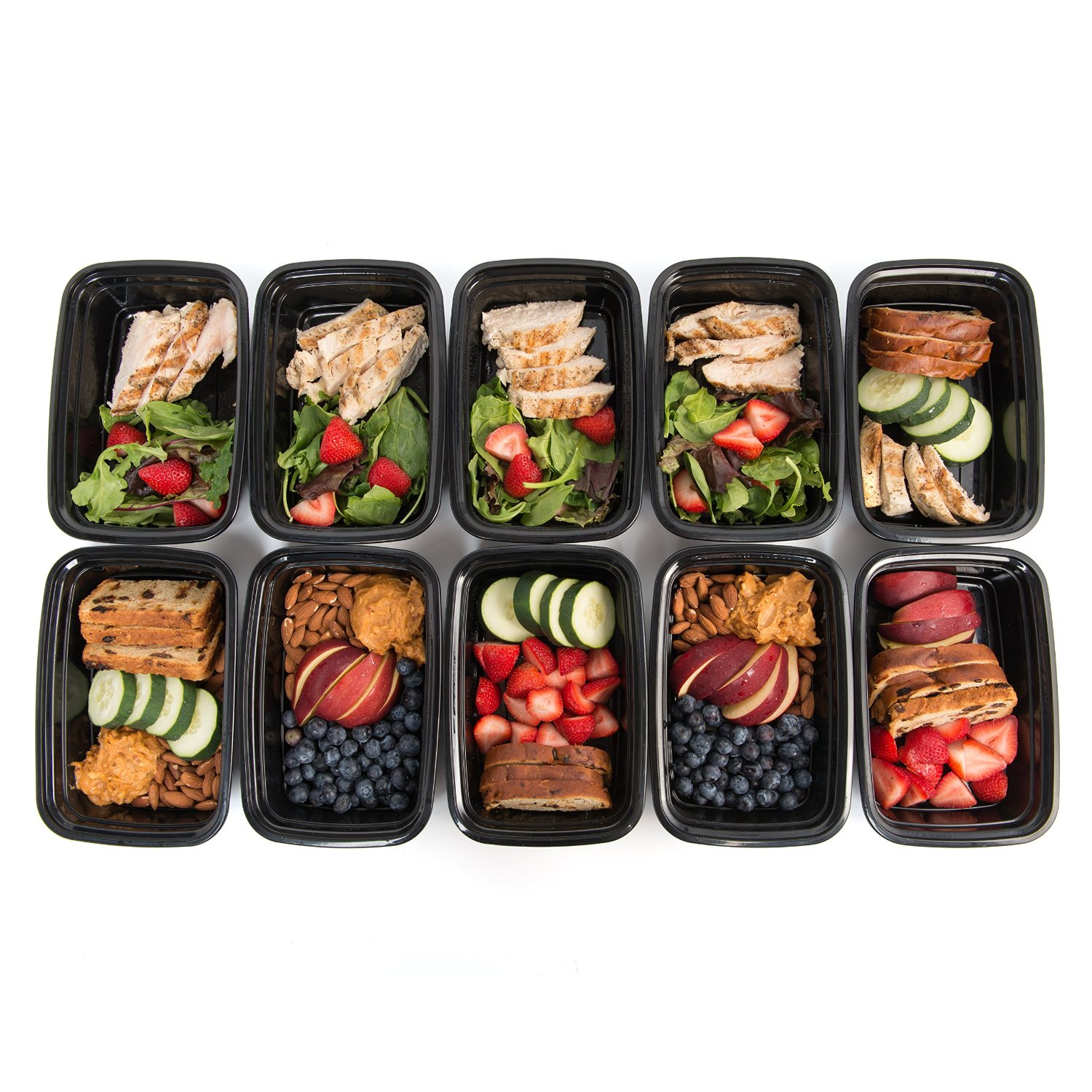 10 meal prep food containers 1 compartment bpa free plastic lunch box with lids ebay. Black Bedroom Furniture Sets. Home Design Ideas
