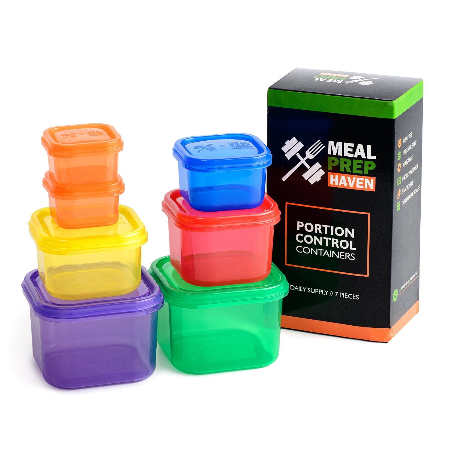 meal prep portion control 7 piece food containers w guide bpa free. Black Bedroom Furniture Sets. Home Design Ideas