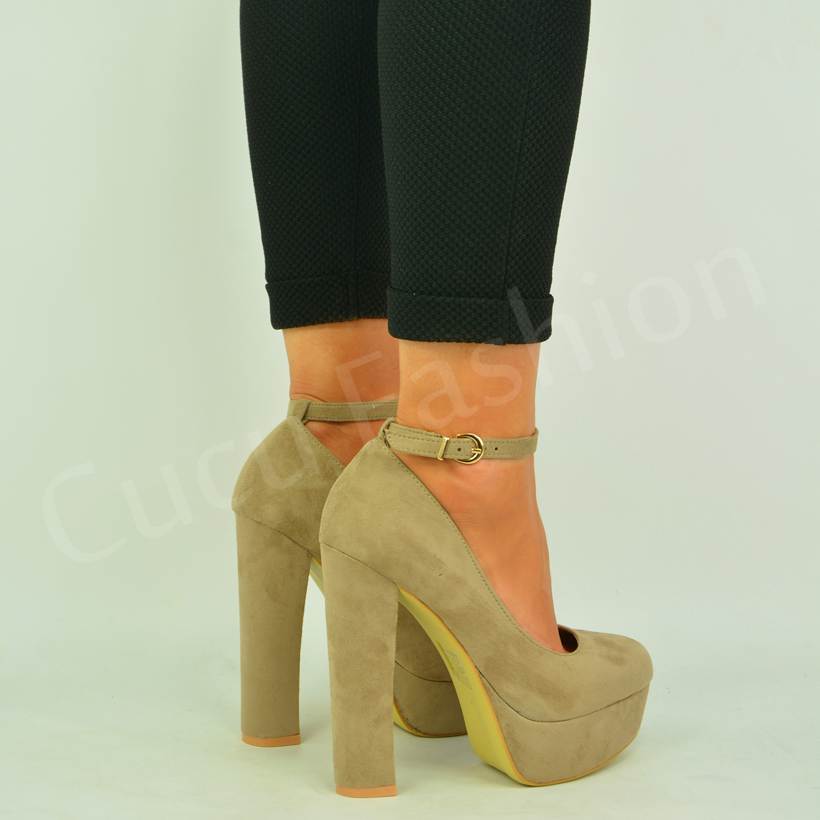 New-Womens-Ladies-Block-High-Heel-Pumps-Ankle-Strap-Sandals-Shoes-Size-Uk-3-8
