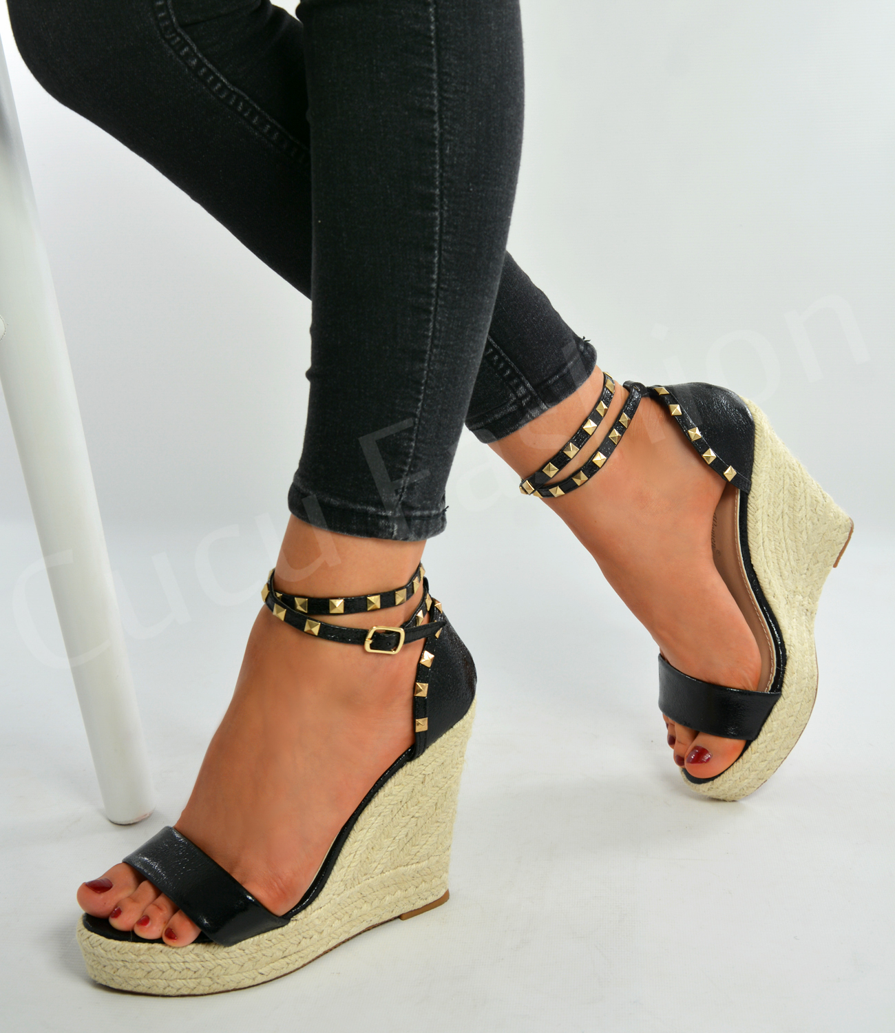 new womens ladies high wedge heel espadrille sandals