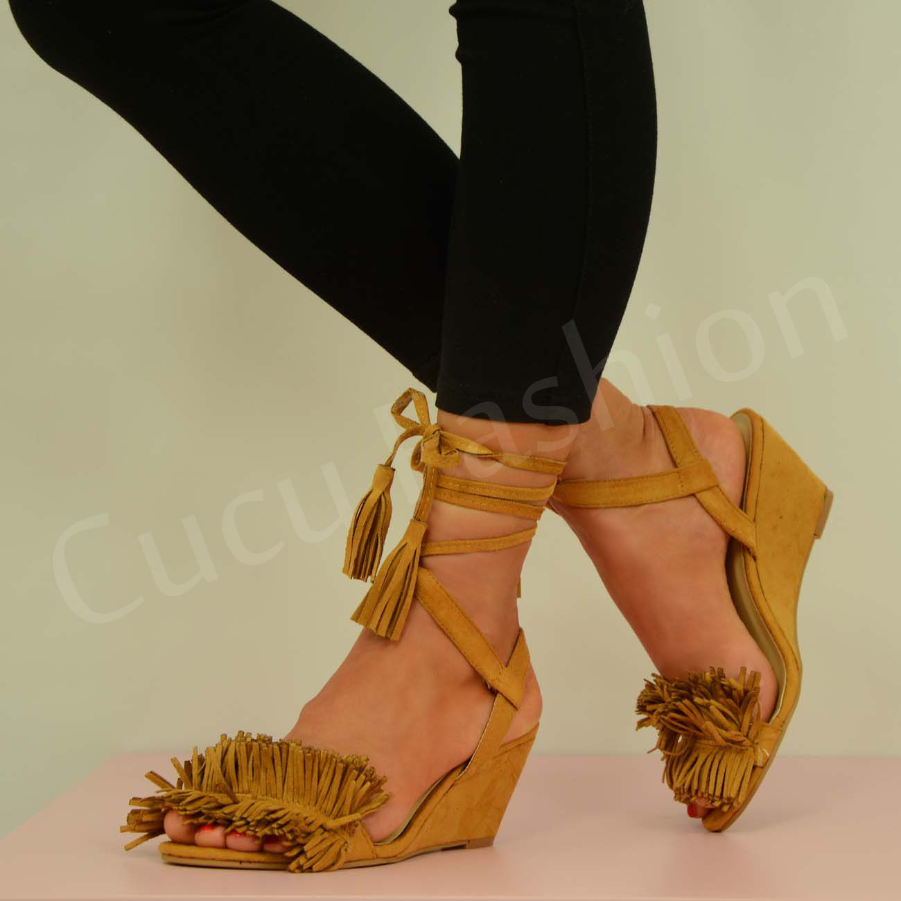 NEW-WOMENS-LACE-UP-WEDGES-LADIES-ANKLE-STRAP-FRINGE-SANDALS-SHOES-SIZE-UK-3-8