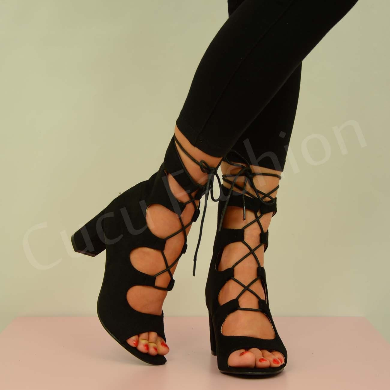Black sandals mid heel uk - New Womens Lace Up Block Mid Heels Strappy