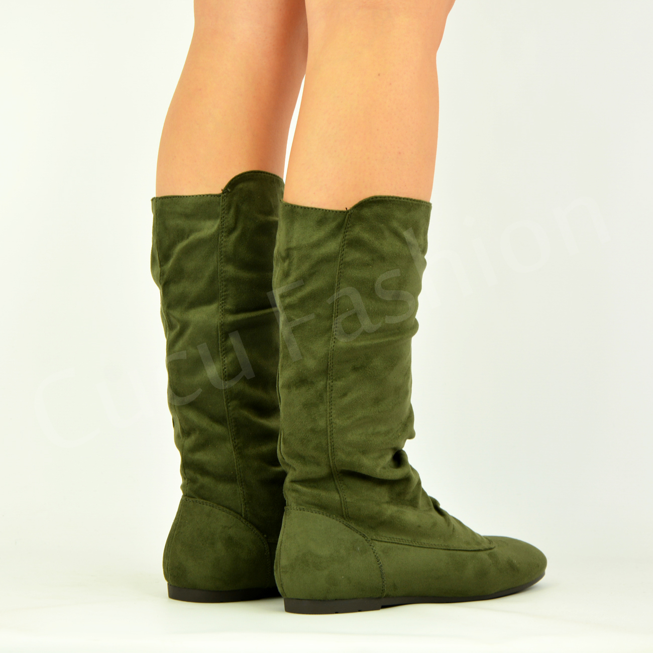 new womens ladies low flat heel pull on mid calf boots