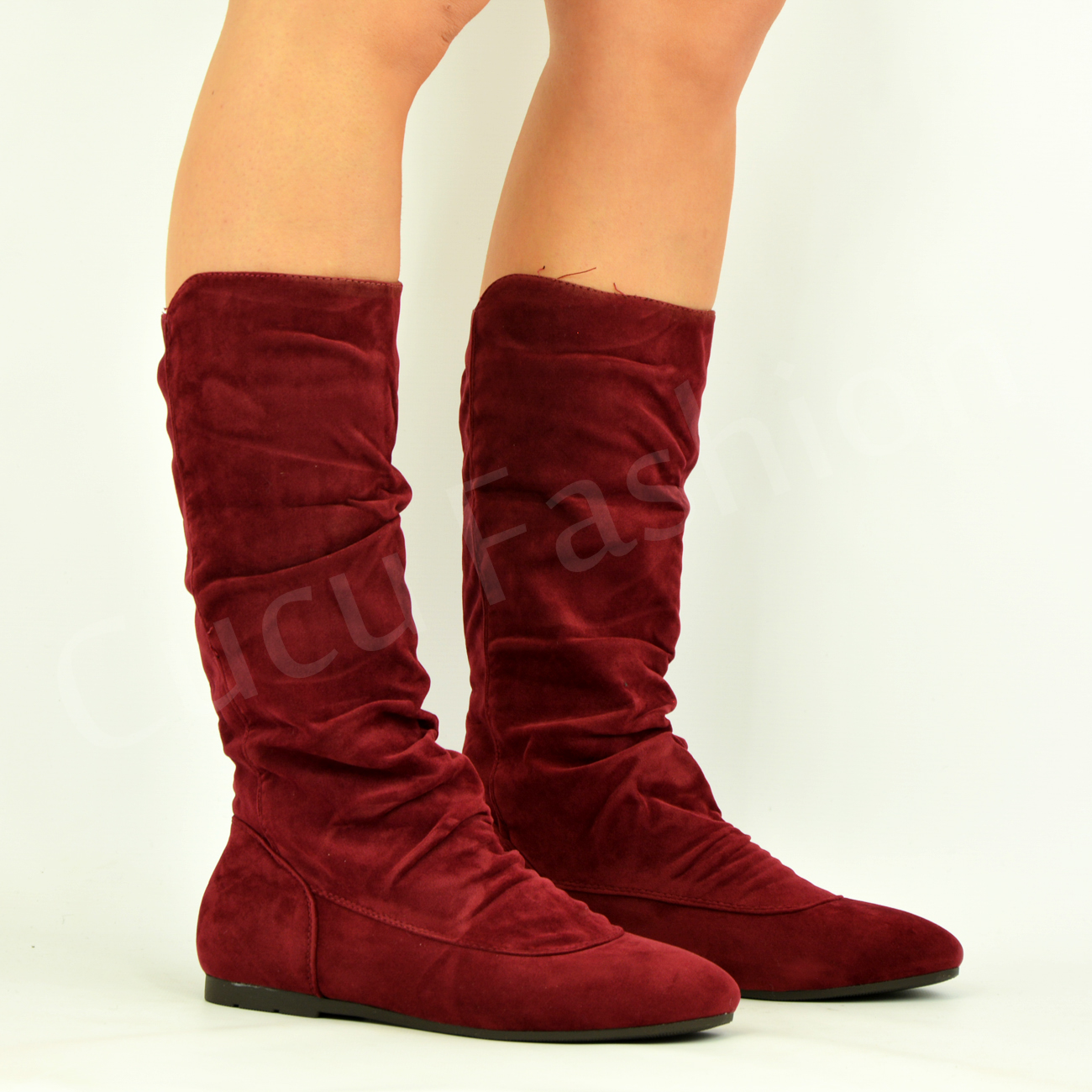 new womens low flat heel pull on mid calf boots