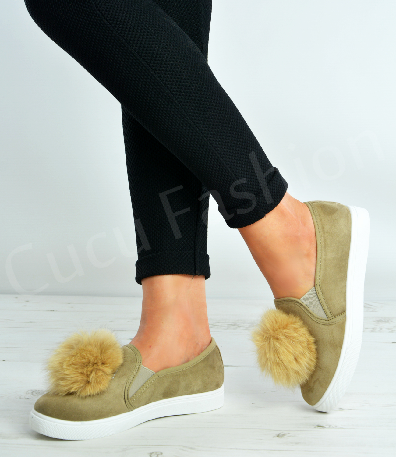 New-Womens-Flat-Trainers-Ladies-Pom-Pom-Slip-On-Sneakers-Shoes-Size-Uk-3-8