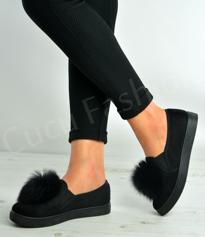Ladies Black Flat Pom Pom Shoes