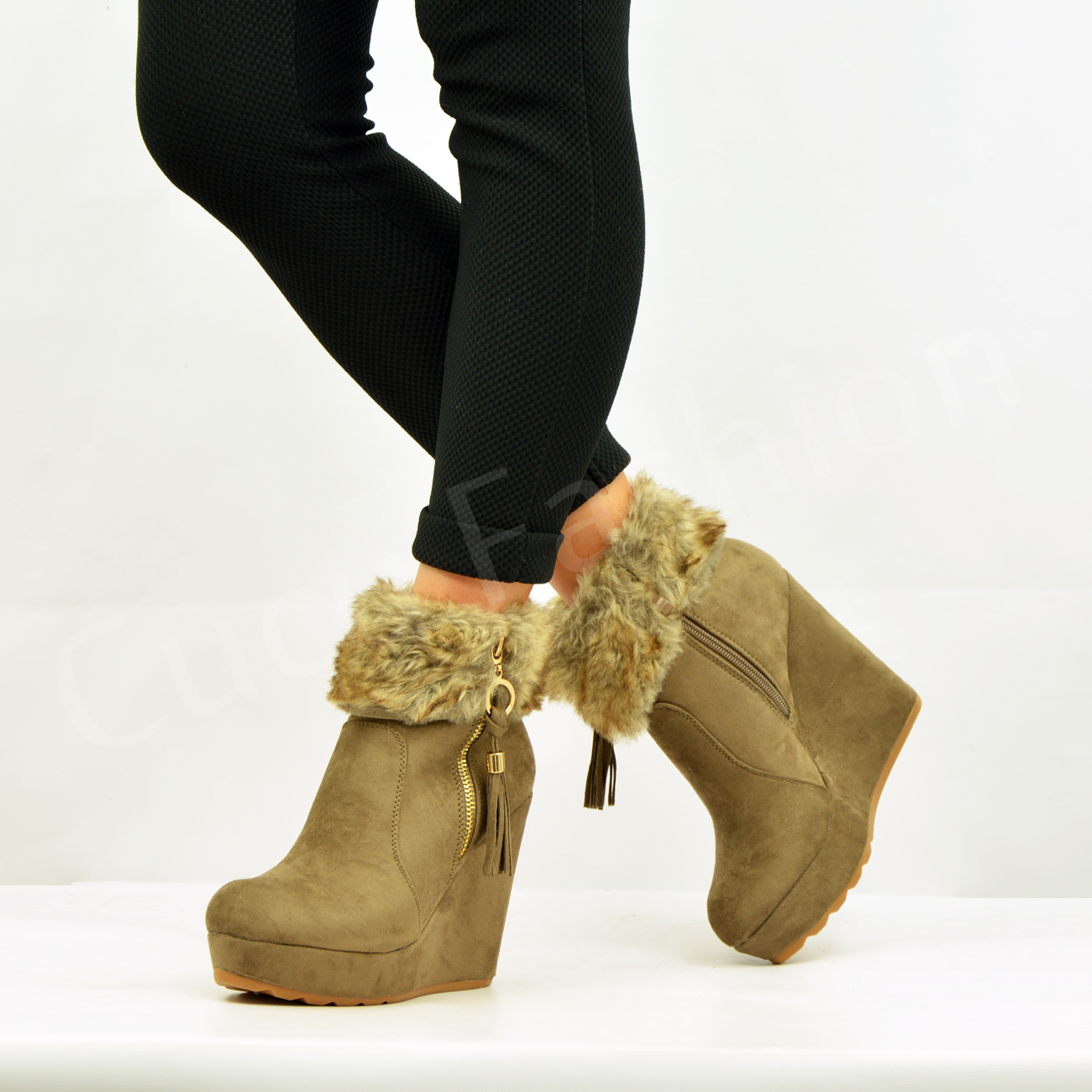 New Womens Fur Lined Ankle Boots Ladies Wedge Platforms Winter ...