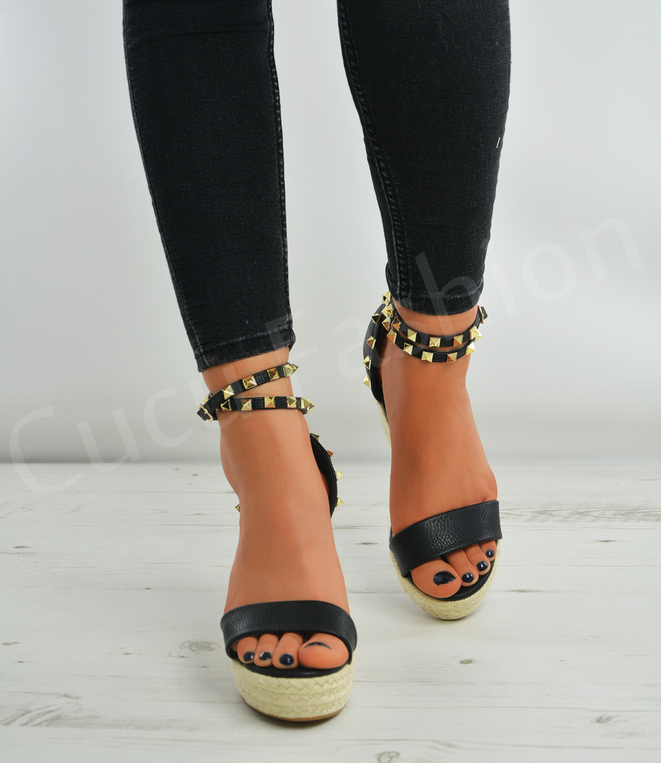 new womens espadrille wedge platforms studs ankle