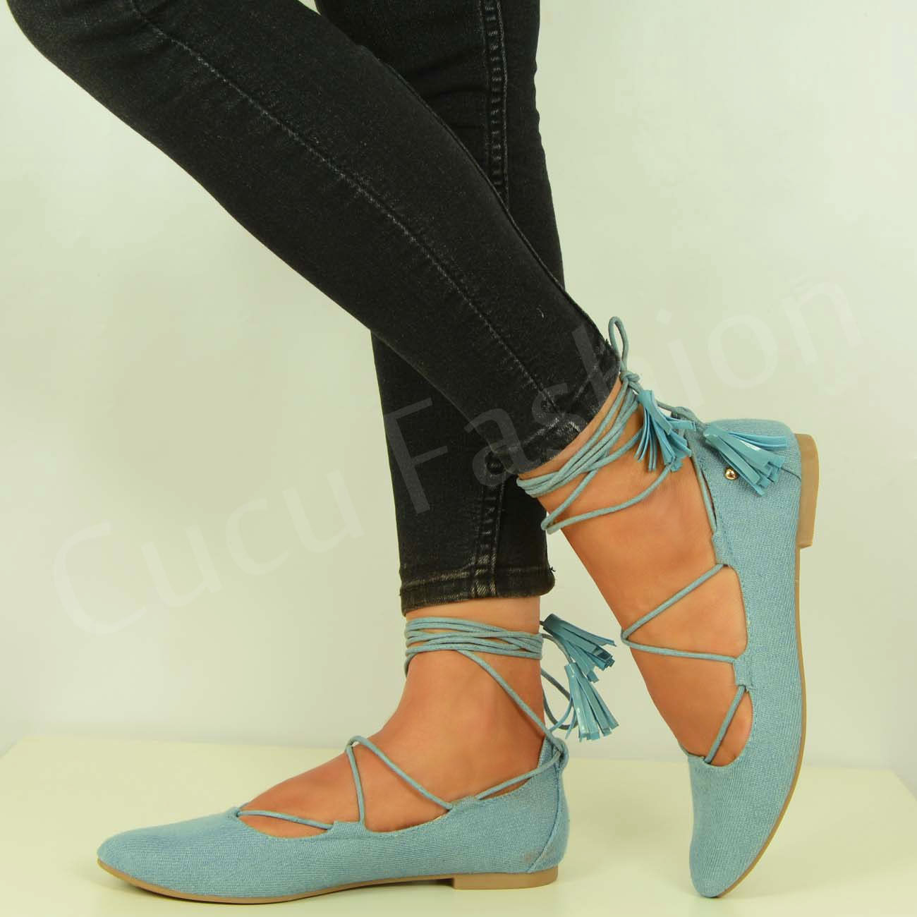 Flat Lace Up Ballerina Shoes
