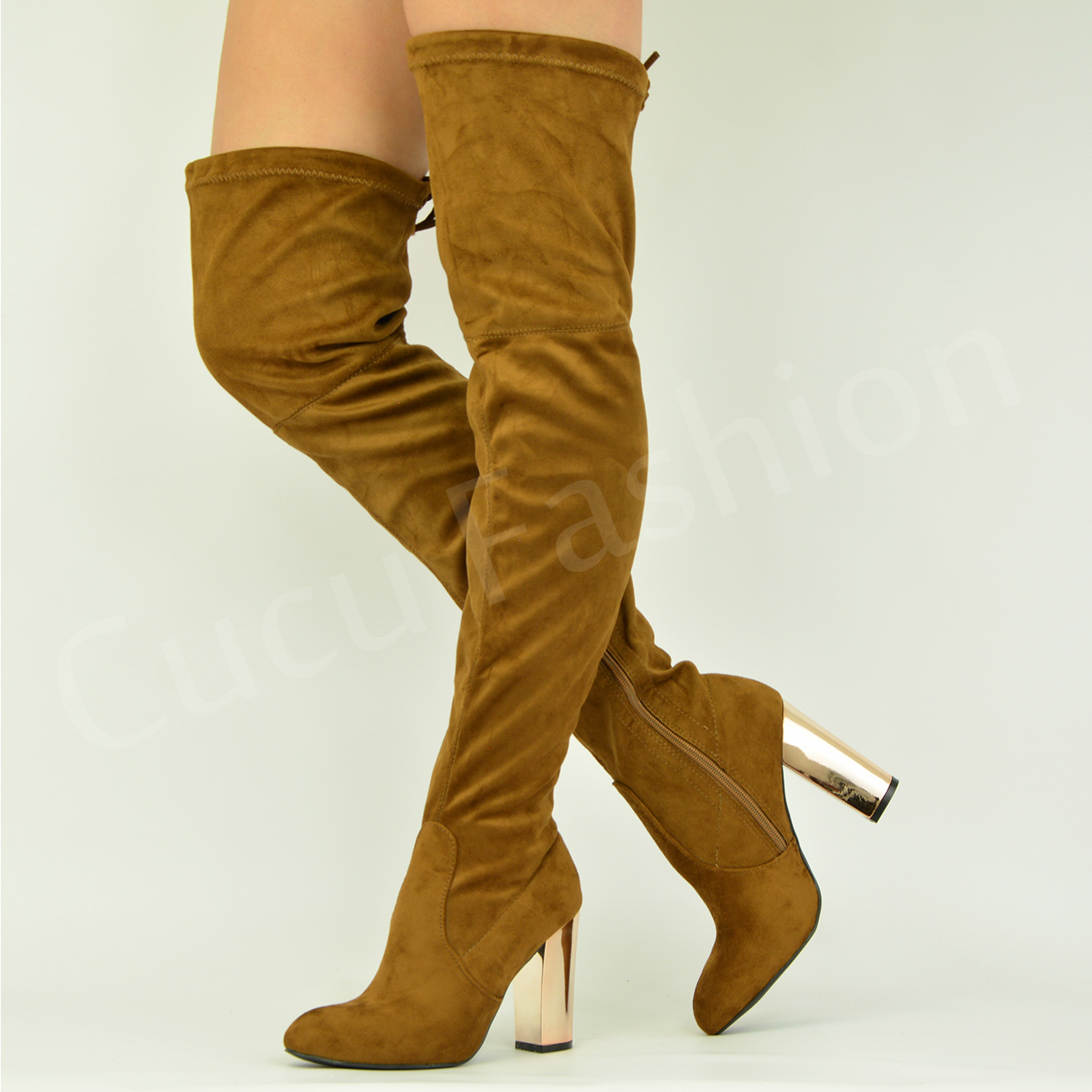 New-Womens-Ladies-Over-The-Knee-Boots-High-Block-Heel-Winter-Shoes-Size-Uk-3-8