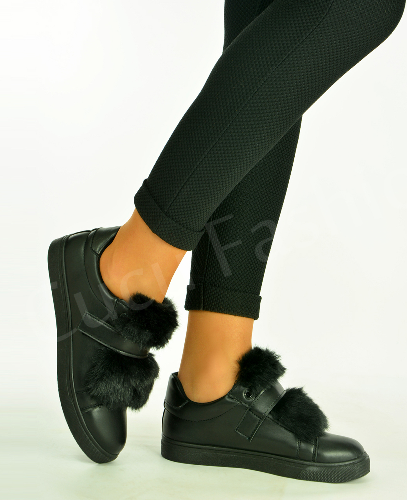 New-Womens-Ladies-Top-Fur-Flat-Trainers-Sneakers-Strap-Casual-Shoes-Size-Uk-3-8