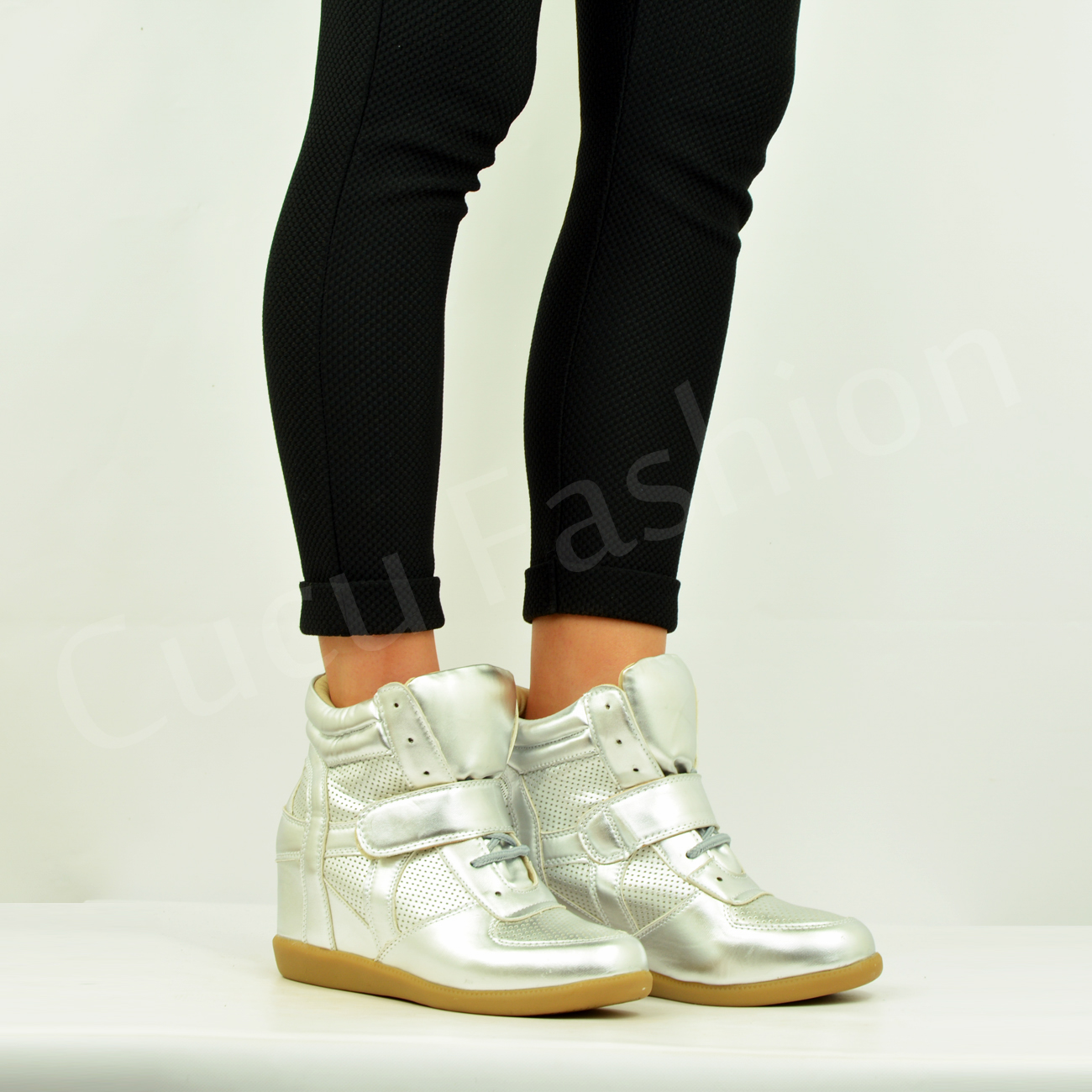 New-Womens-Ladies-Wedge-Trainers-High-Top-Mid-Heel-Platform-Sneakers-Ankle-Boots