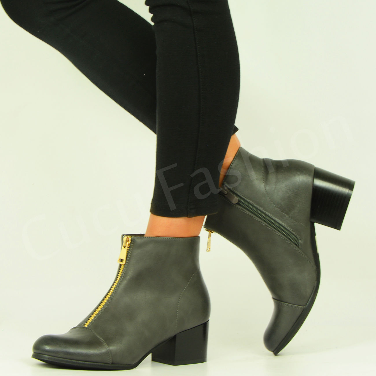 new womens ankle boot front side zip mid heel boots