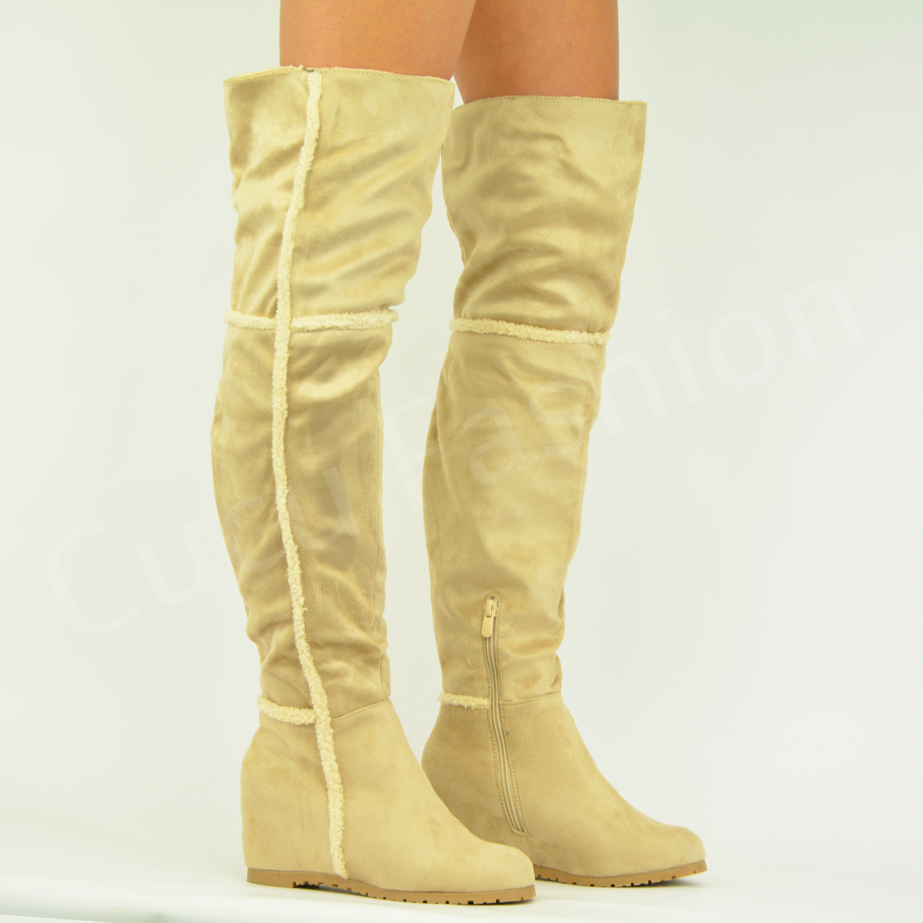 new womens the knee boots low flat heel fur